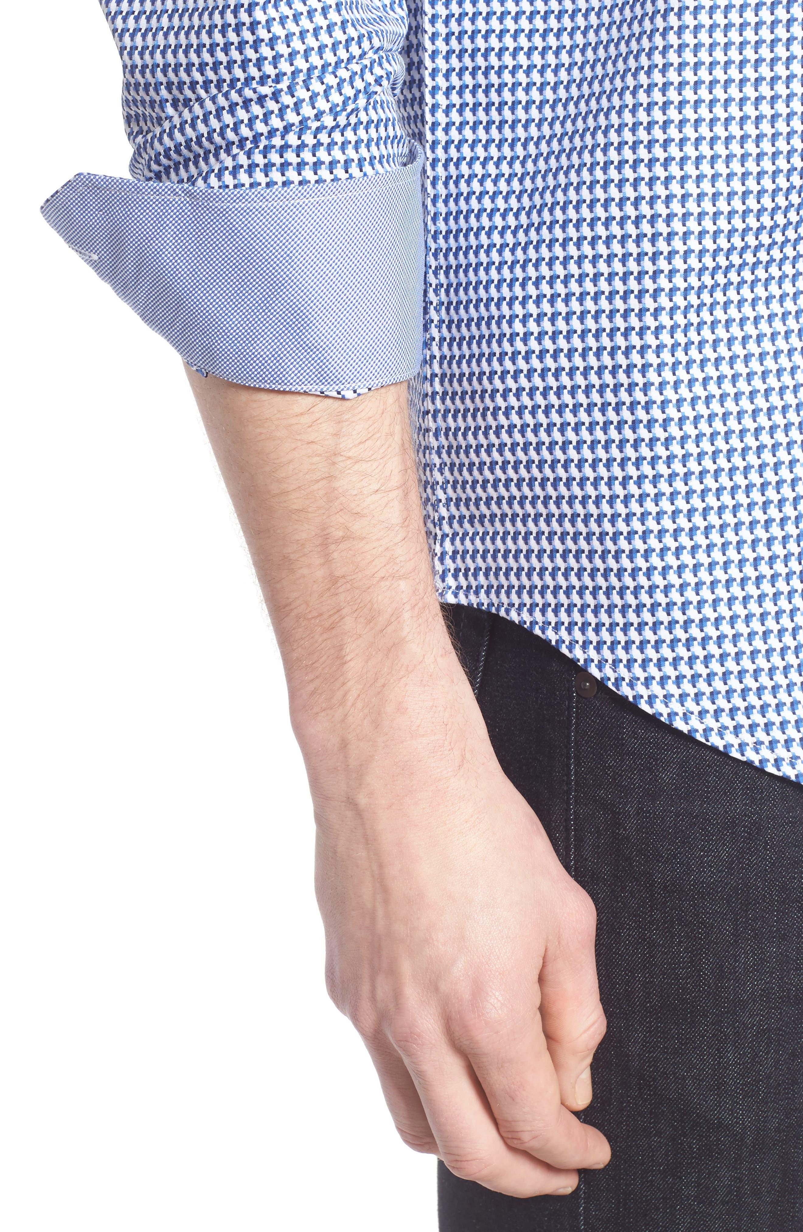 Alternate Image 4  - Bugatchi Shaped Fit Geo Sport Shirt
