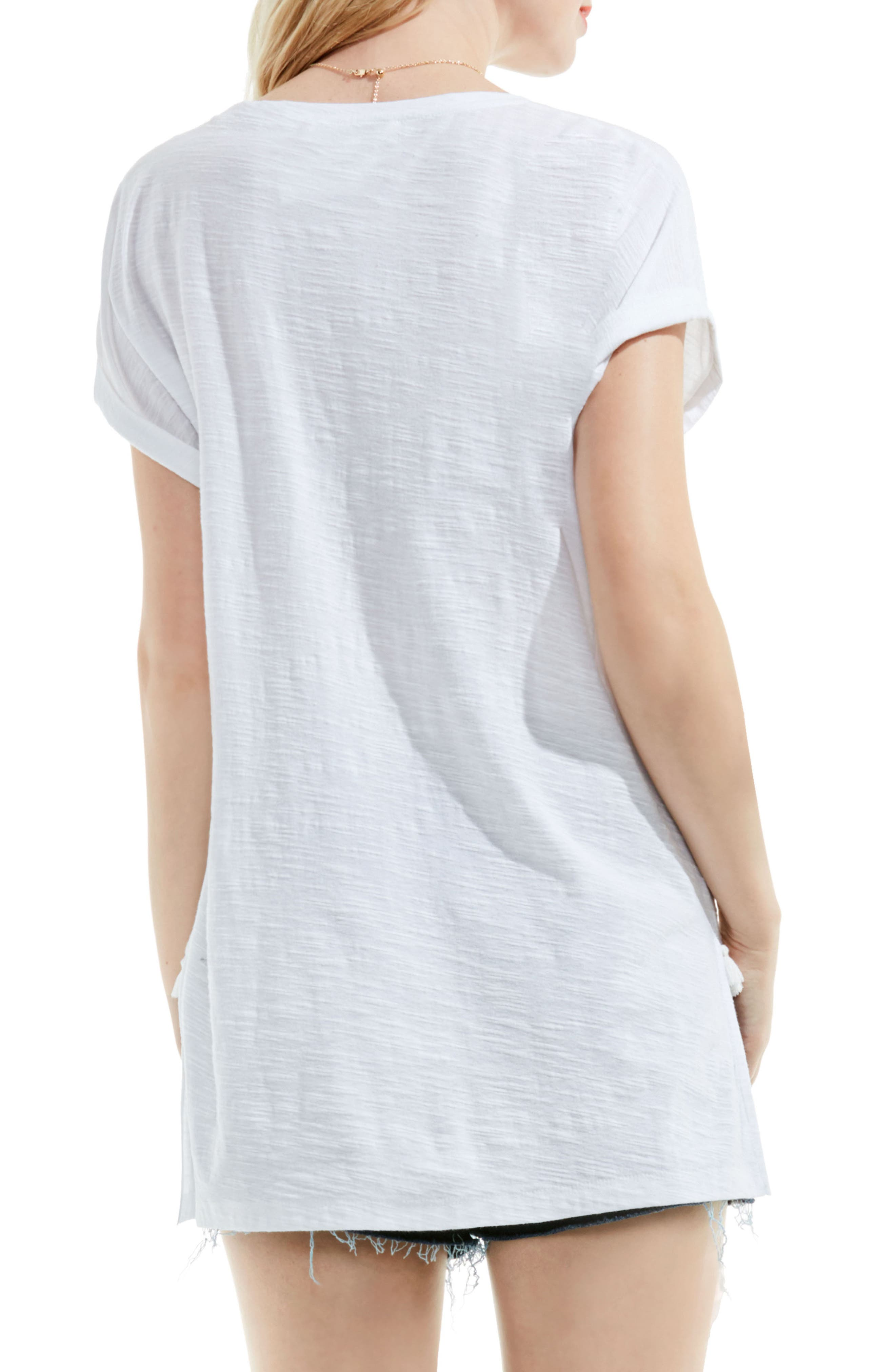 Alternate Image 2  - Two by Vince Camuto Tassel Trim Cotton Tee