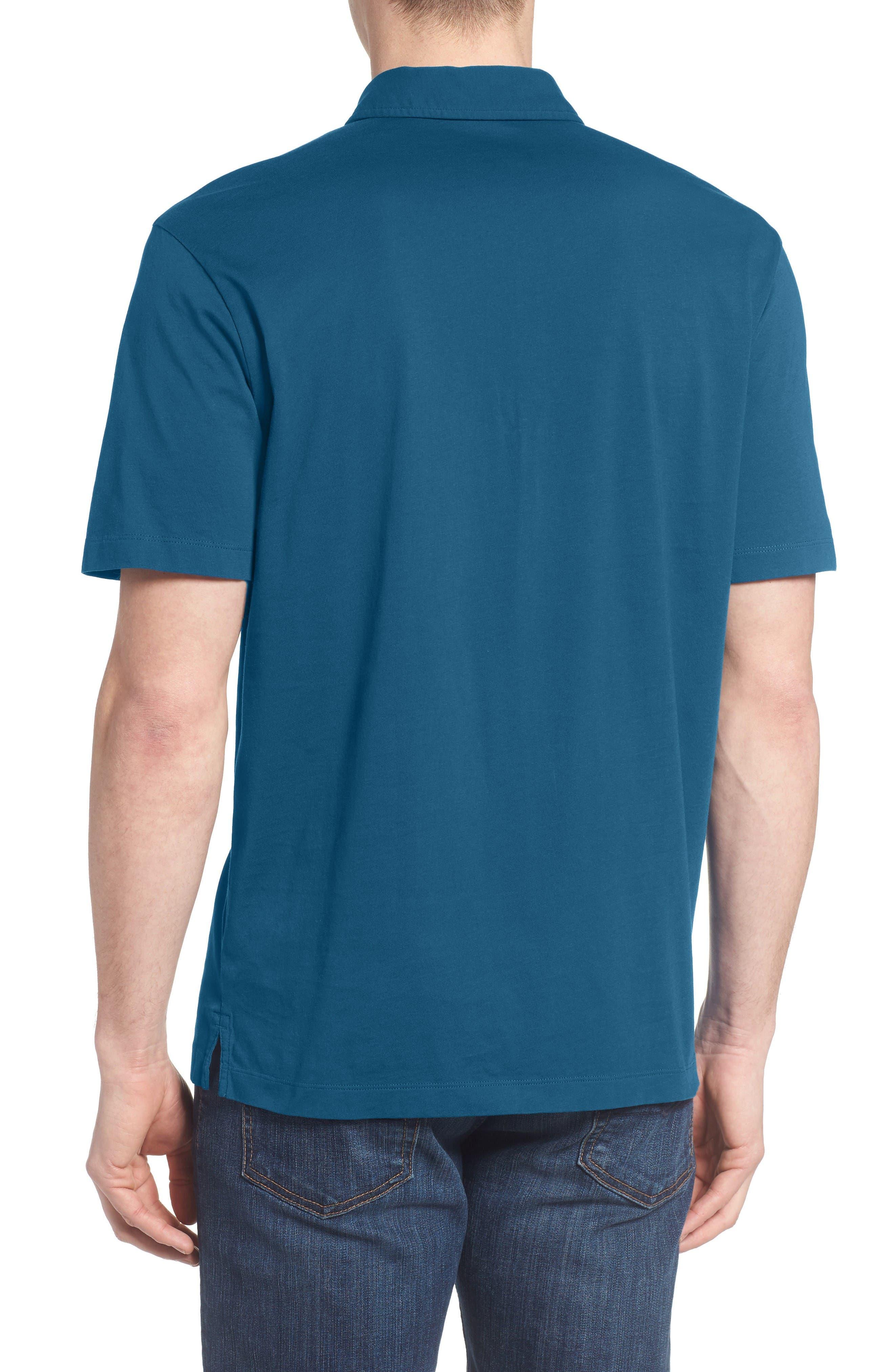 'Trout Fitz Roy' Organic Cotton Polo,                             Alternate thumbnail 6, color,                             Radar Blue