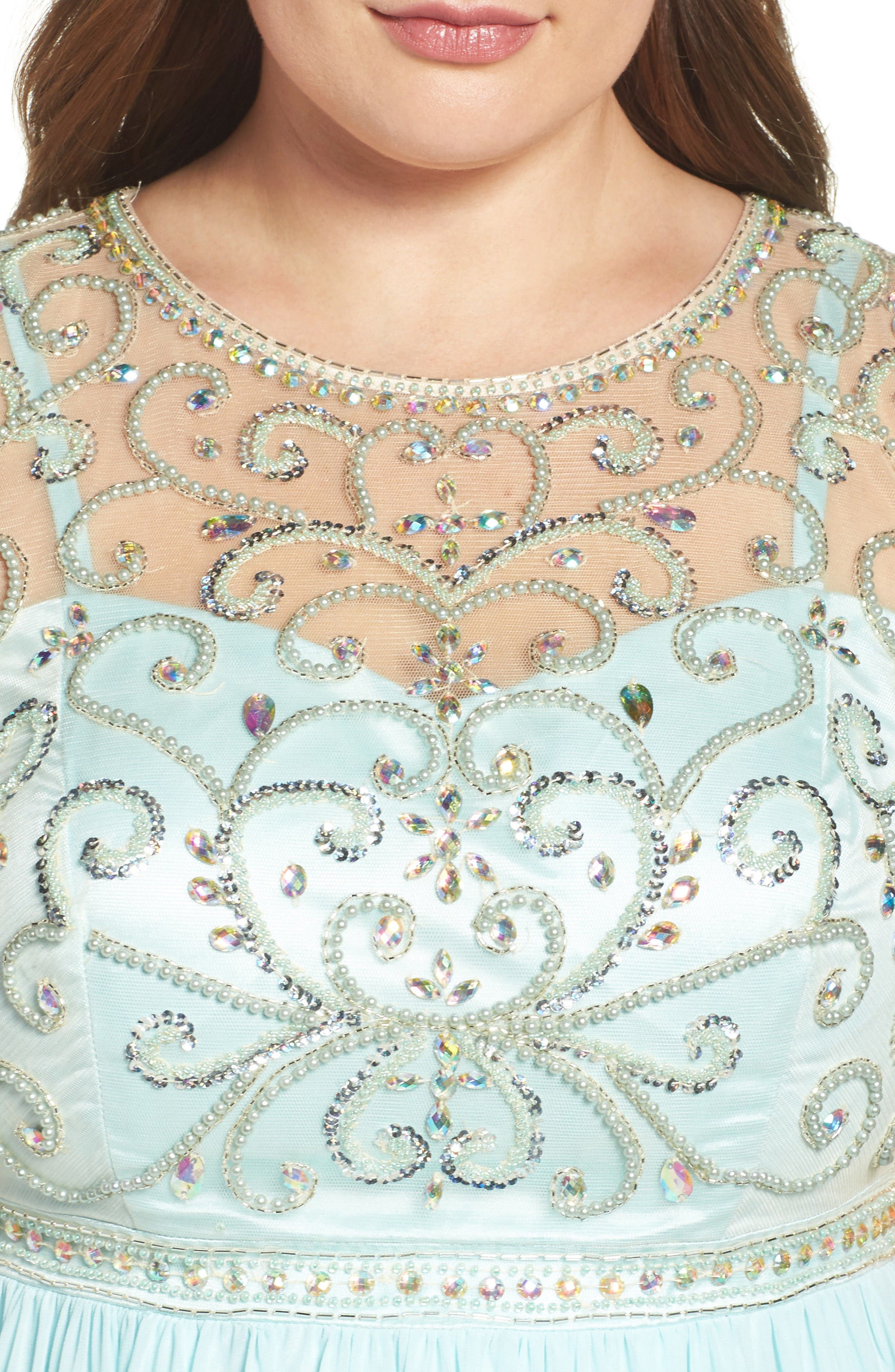 Beaded Illusion A-Line Gown,                             Alternate thumbnail 4, color,                             Mint
