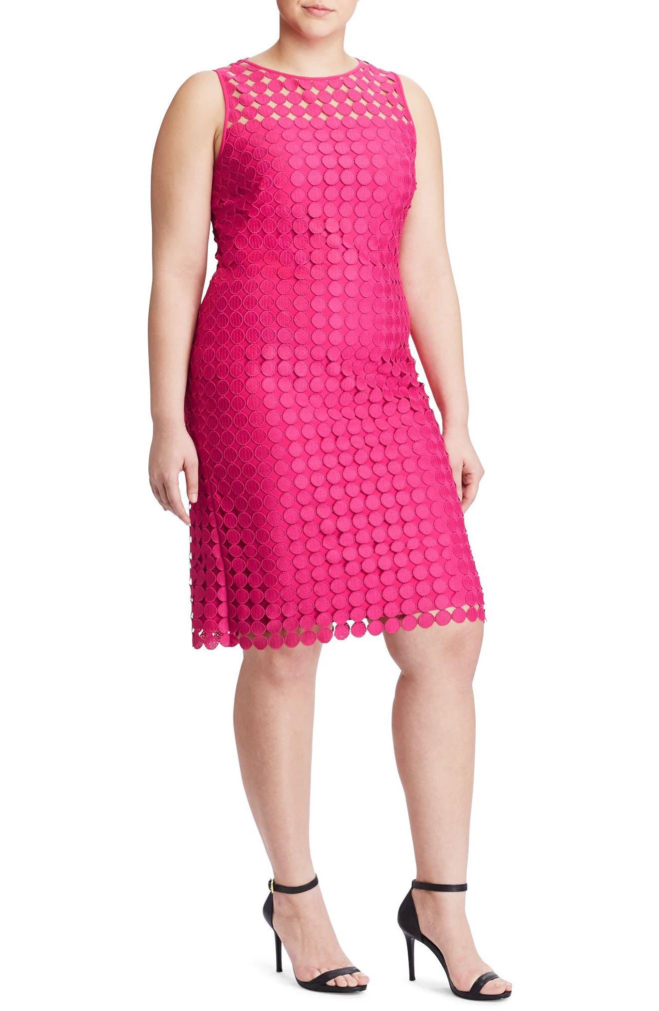 Dot Lace Sheath Dress,                         Main,                         color, Caliente Pink