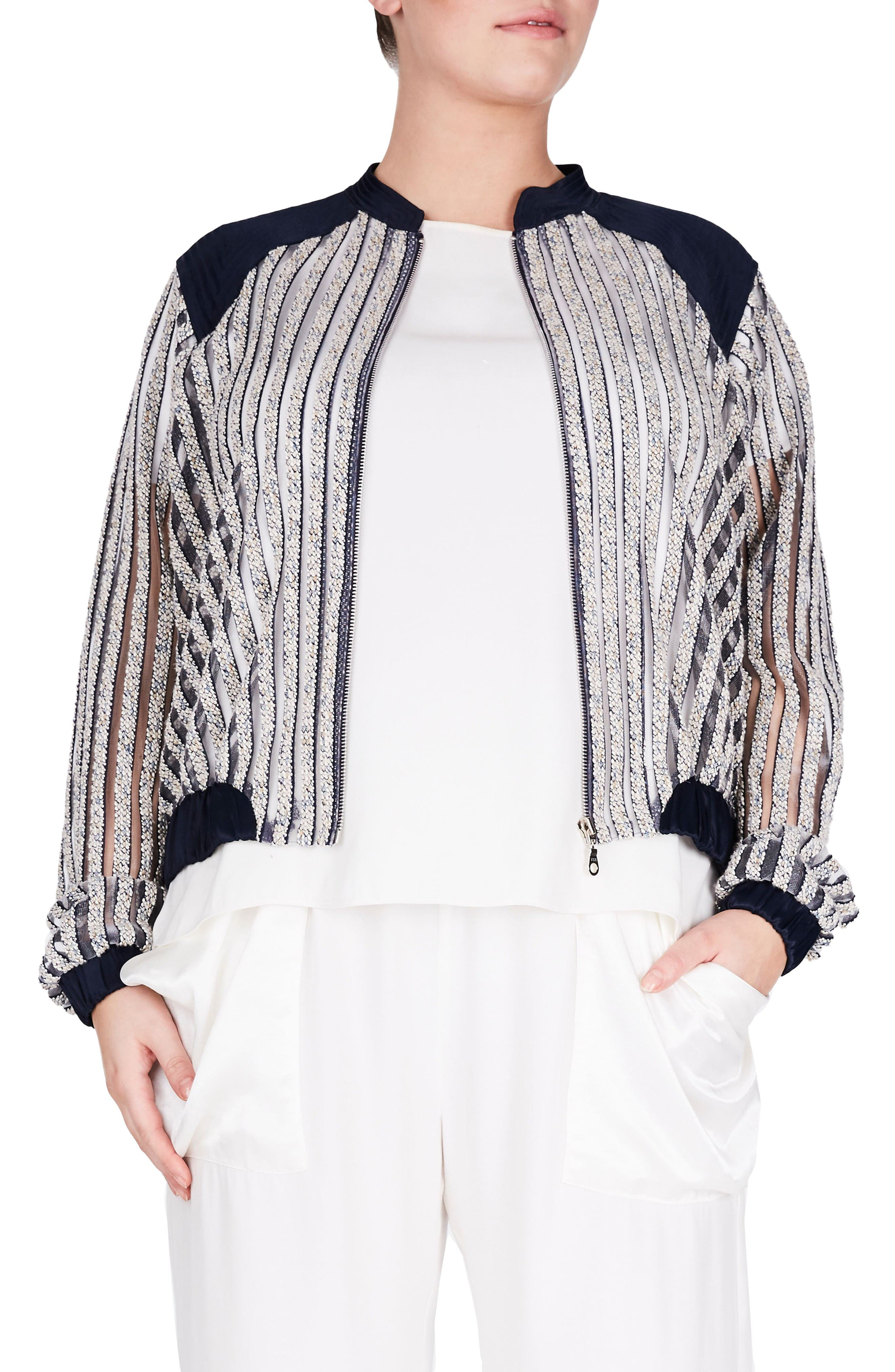 ELVI Textured Stripe Bomber Jacket (Plus Size)