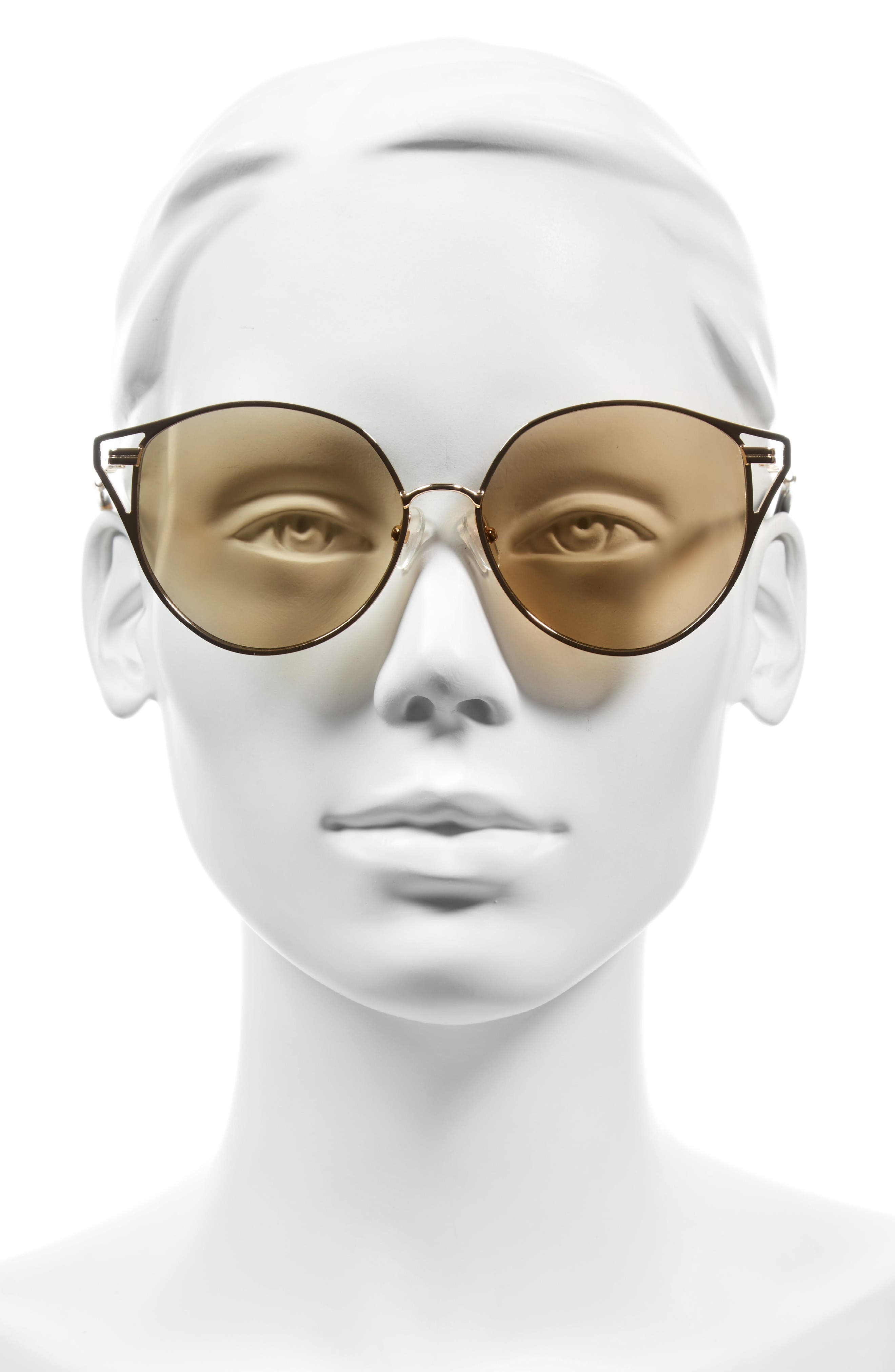 Ibiza 55mm Cat Eye Sunglasses,                             Alternate thumbnail 5, color,                             Gold Wire/ Amber Mirror