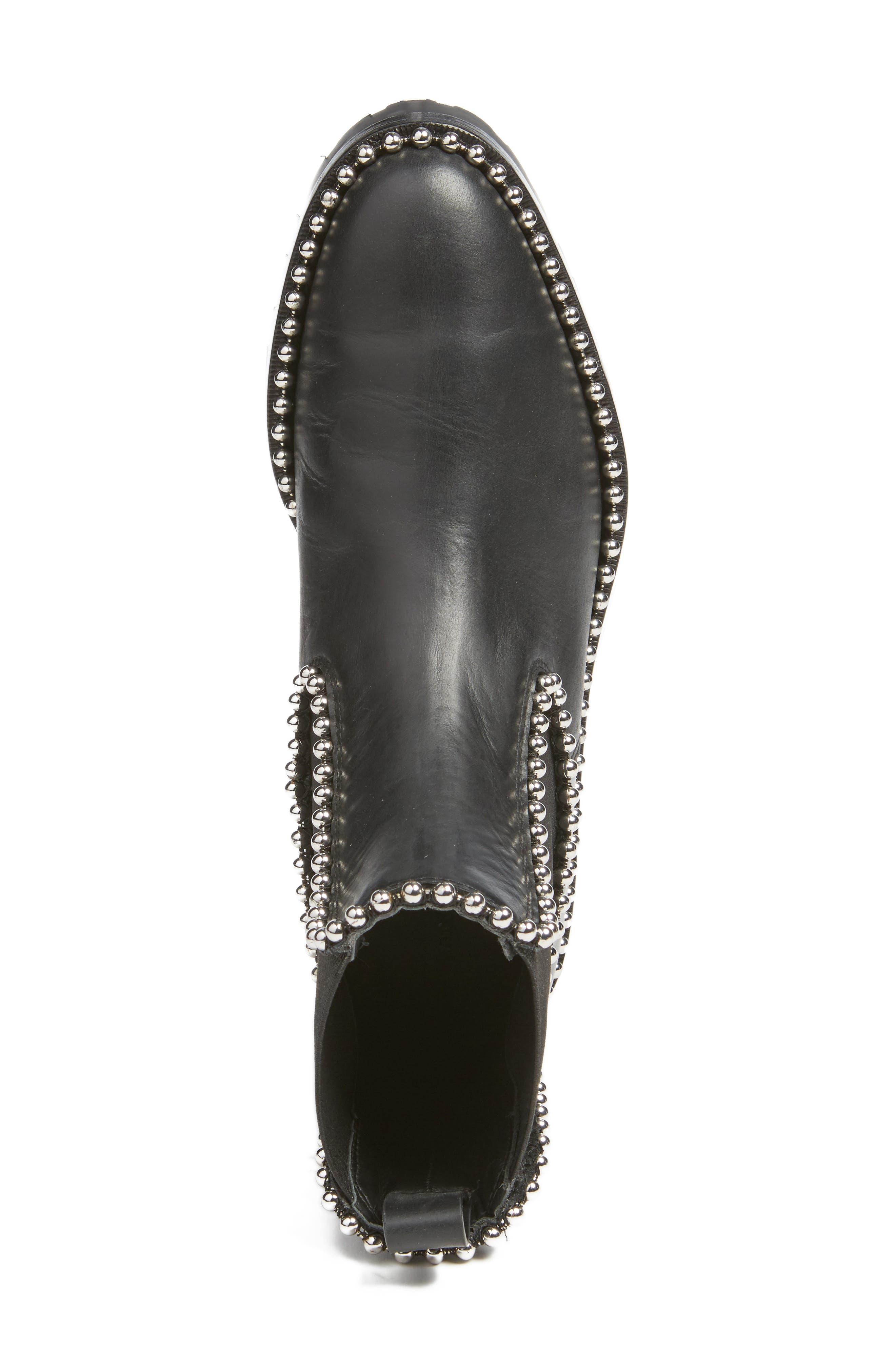 Spencer Chelsea Boot,                             Alternate thumbnail 5, color,                             Black Leather