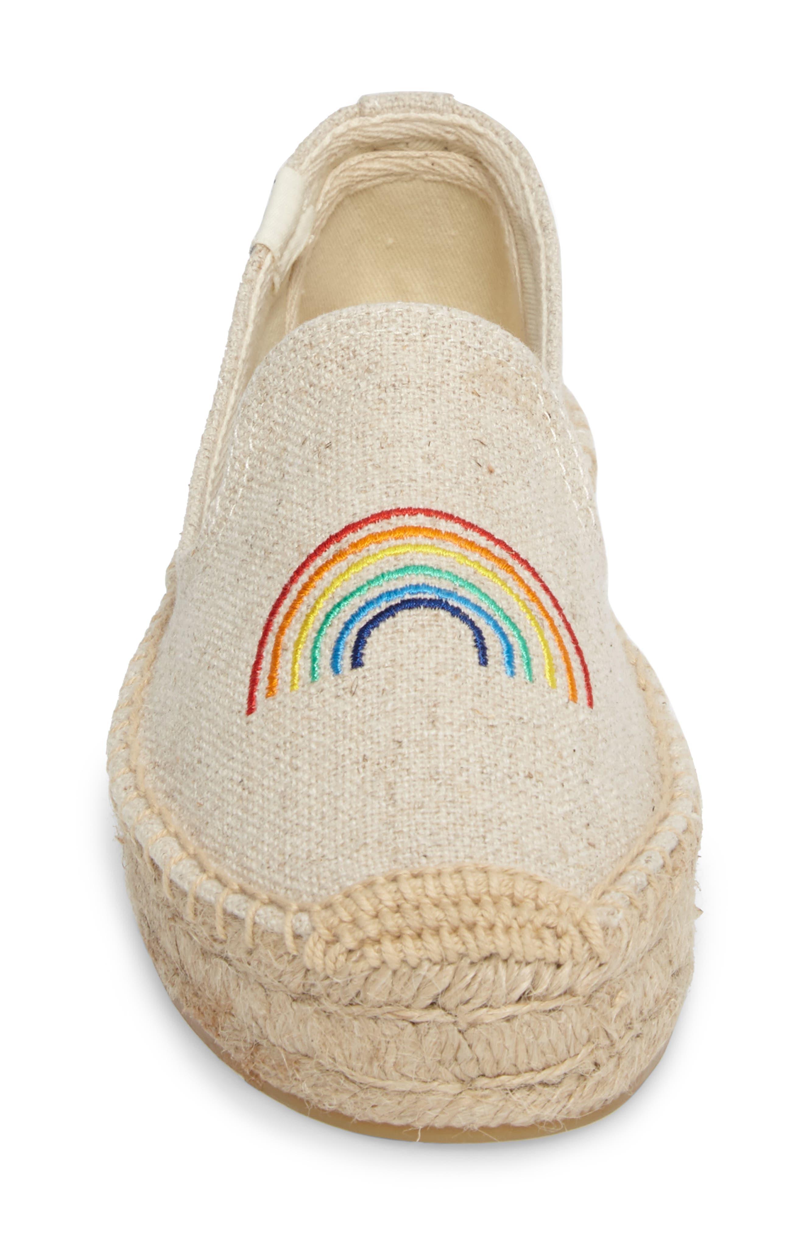 X ASHKAHN Rainbow Embroidered Platform Espadrille,                             Alternate thumbnail 4, color,                             Sand Canvas