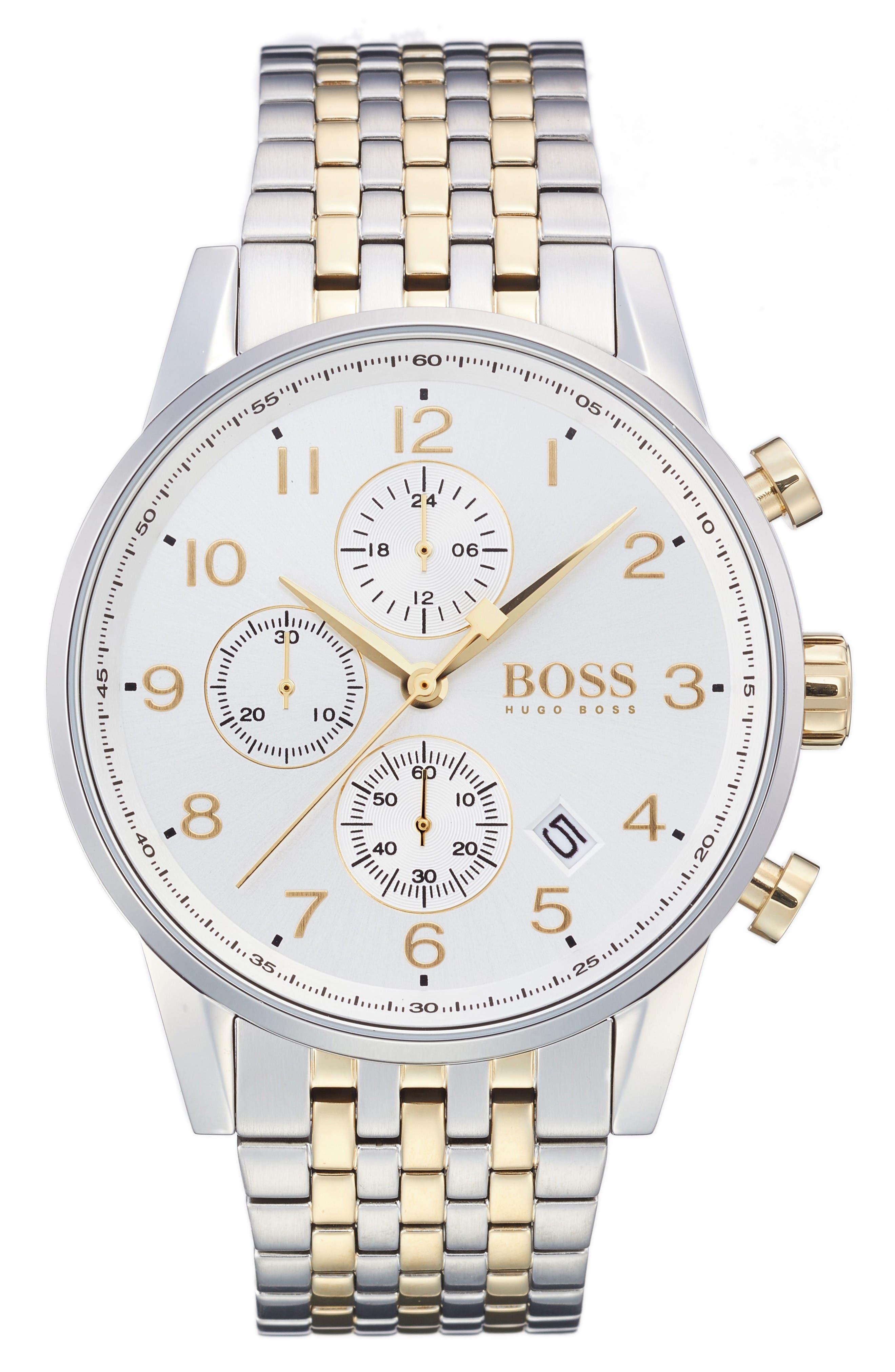 Navigator Chronograph Bracelet Watch, 44mm,                             Main thumbnail 1, color,                             Silver/ Silver