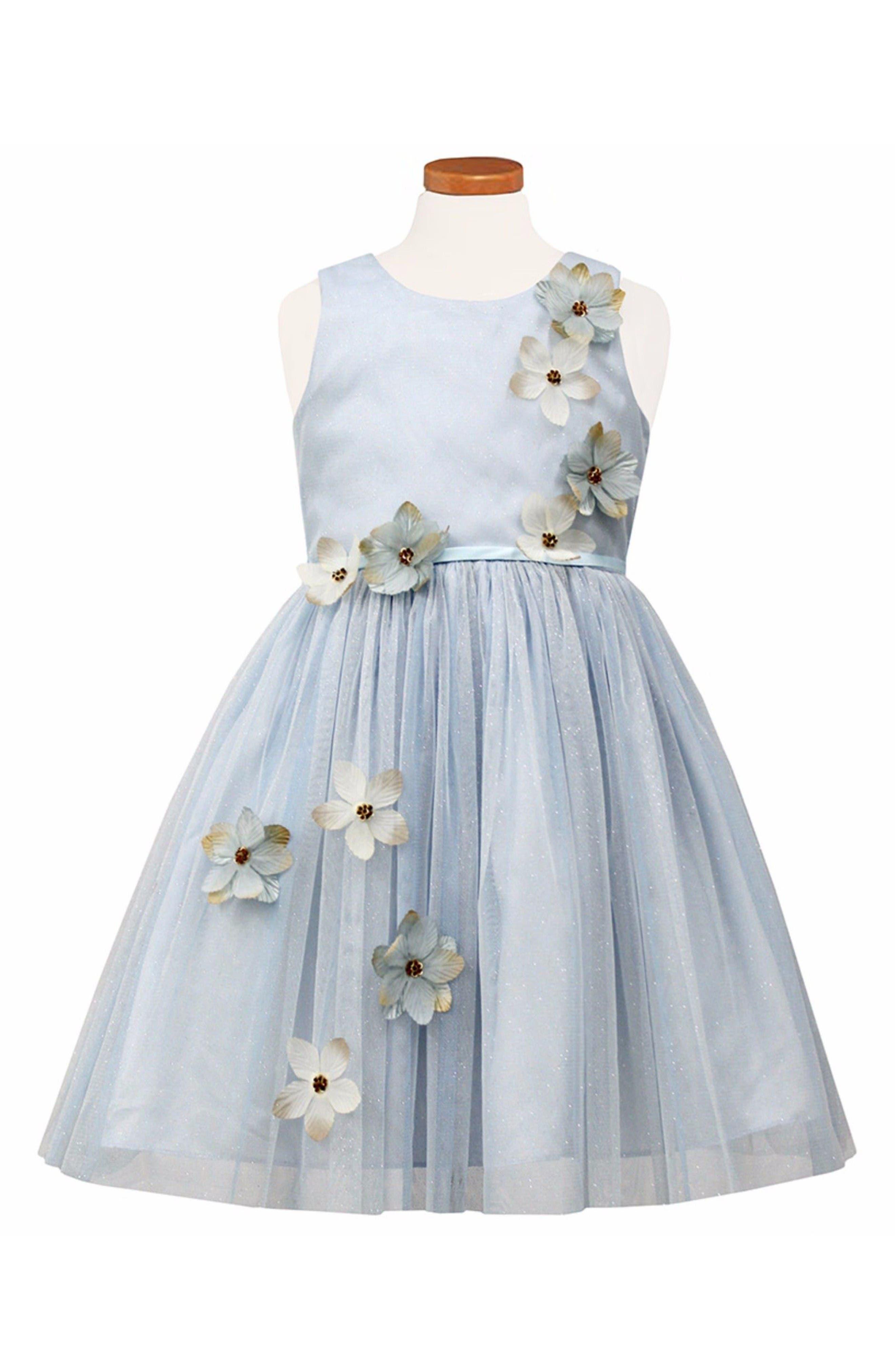 Sorbet Flower Appliqué Tulle Party Dress (Toddler Girls & Little Girls)