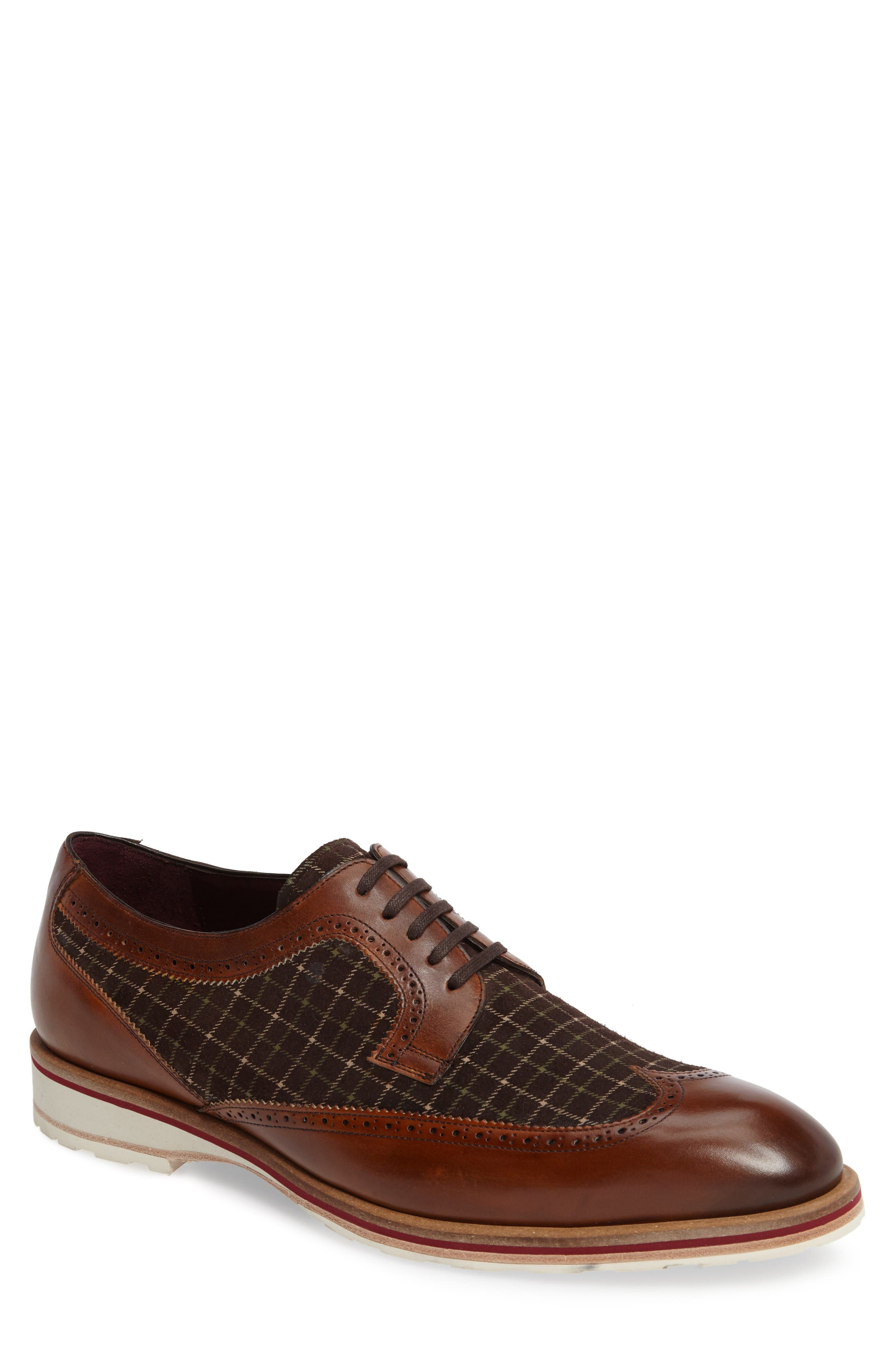 Paulov Tattersall Wingtip,                             Main thumbnail 1, color,                             Cognac/ Brown Leather