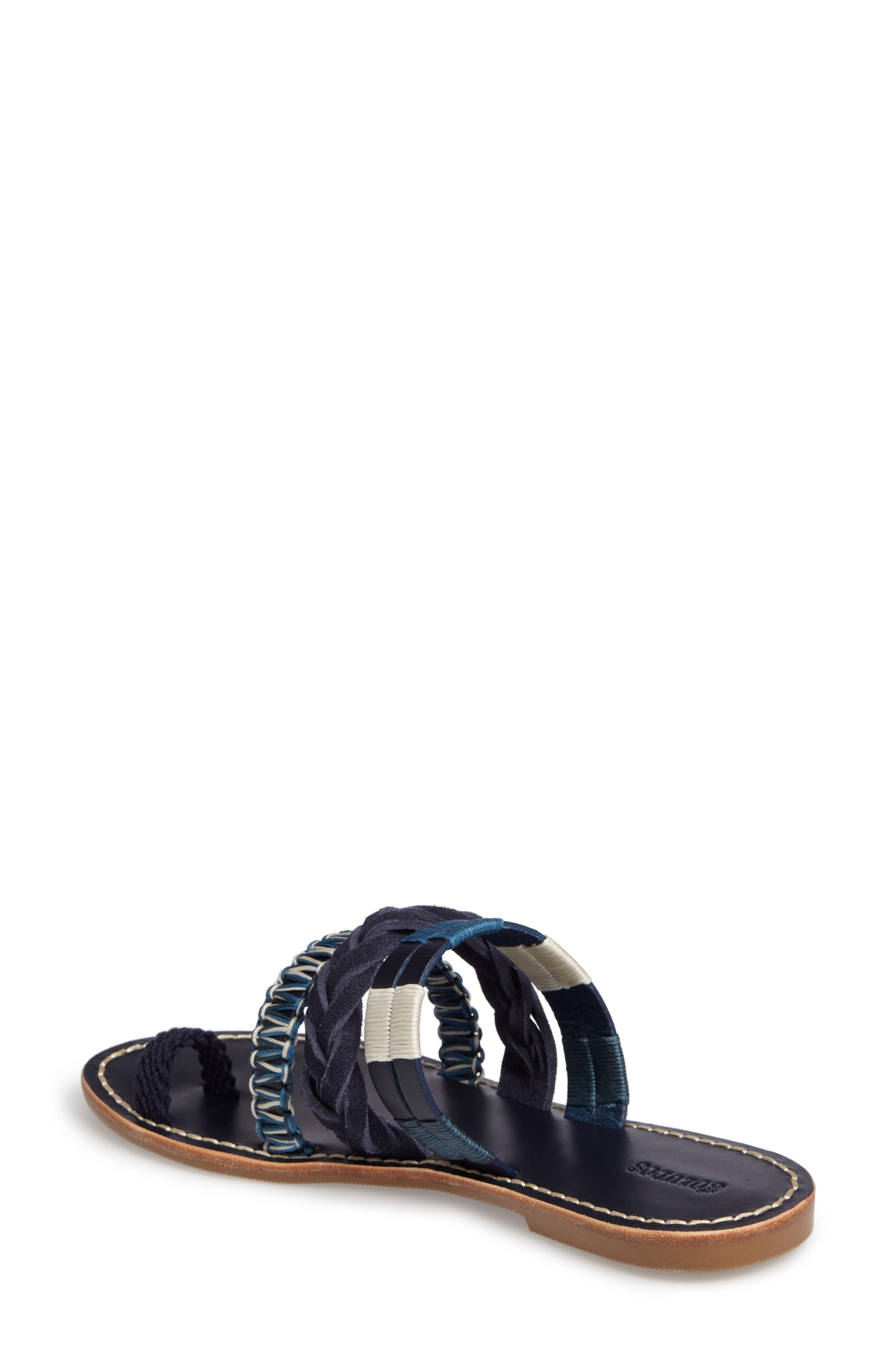 Slide Sandal,                             Alternate thumbnail 3, color,                             Midnight/ Blue Multi Leather