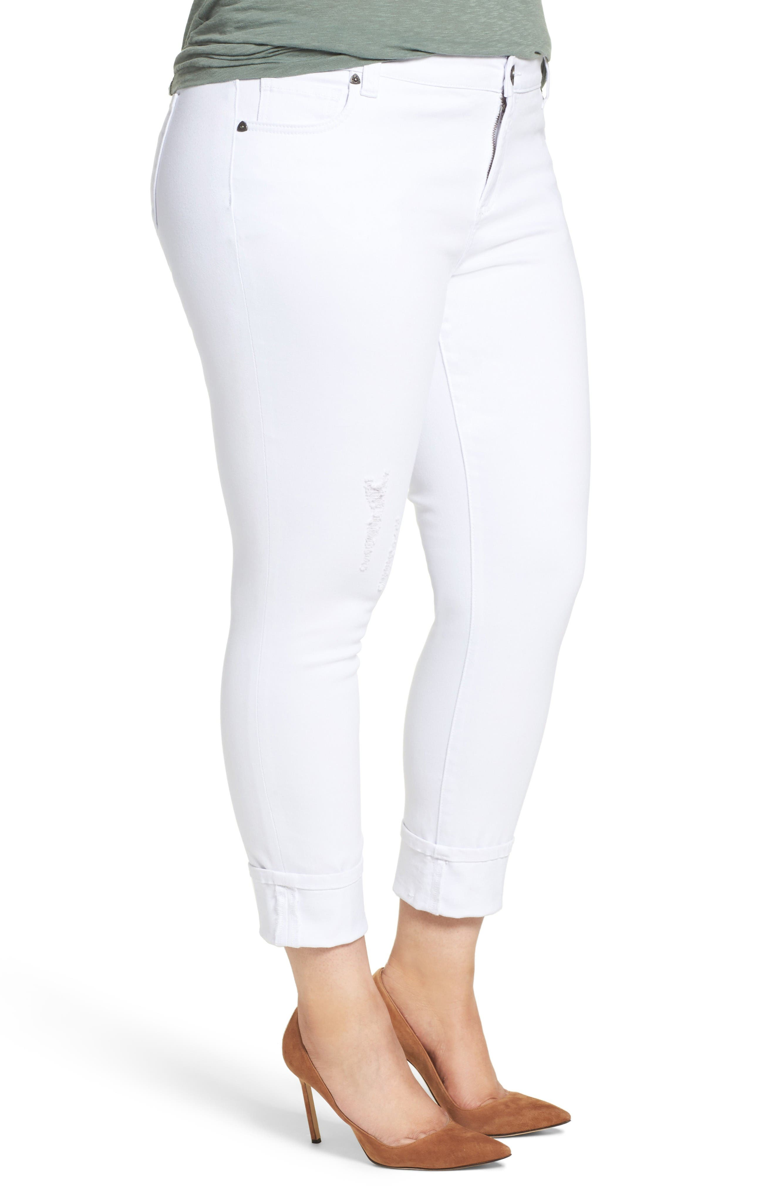 Catherine Distressed Wide Cuff Boyfriend Jeans,                             Alternate thumbnail 3, color,                             Optic White