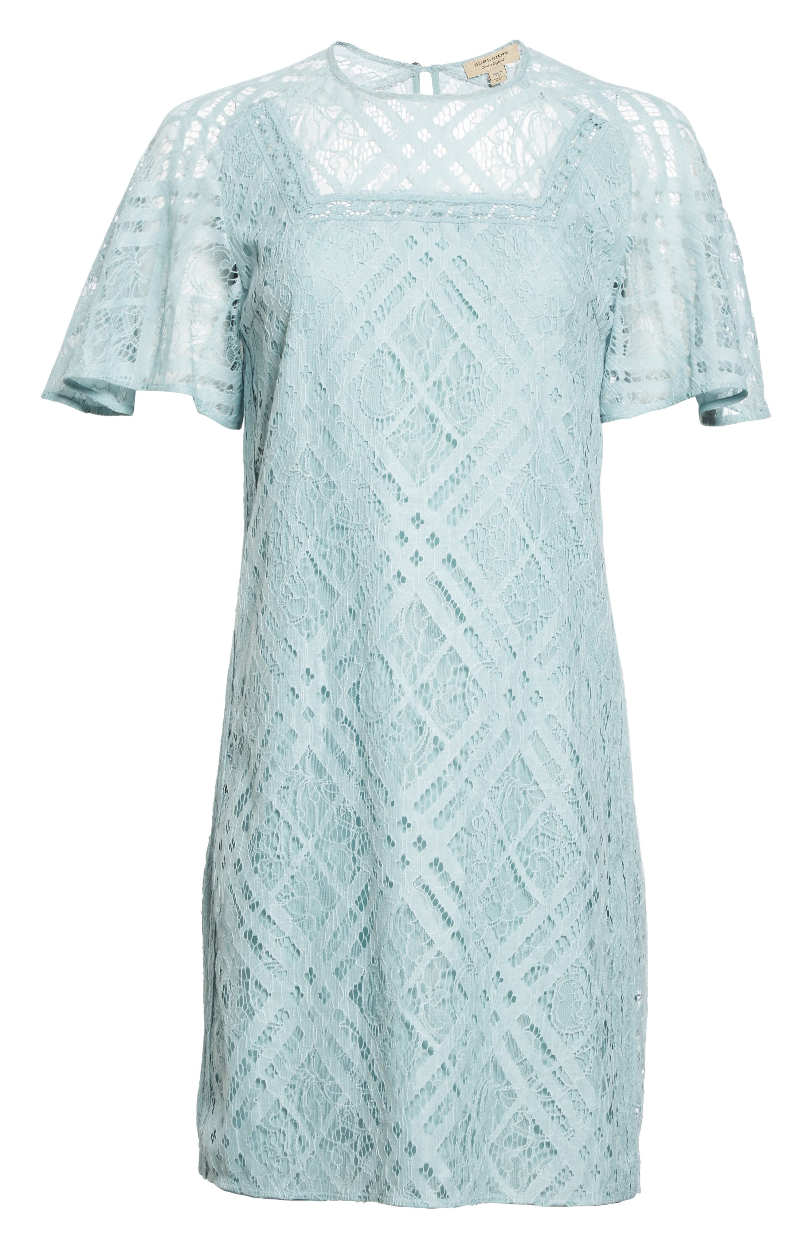 Keri Floral Check Lace Dress,                             Alternate thumbnail 4, color,                             Pale Slate Blue