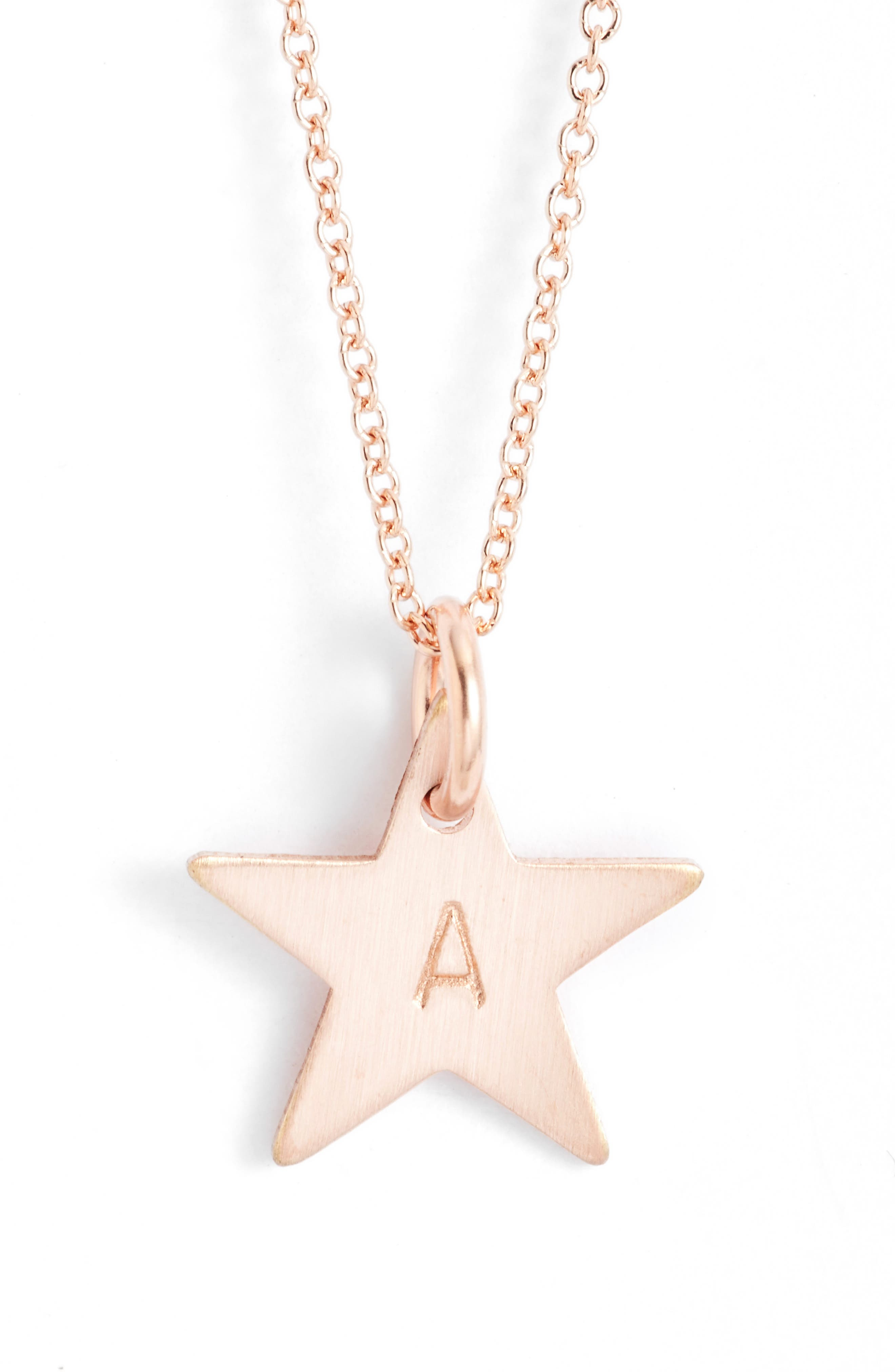 14k-Rose Gold Fill Initial Mini Star Pendant Necklace,                         Main,                         color, Rose Gold/ A