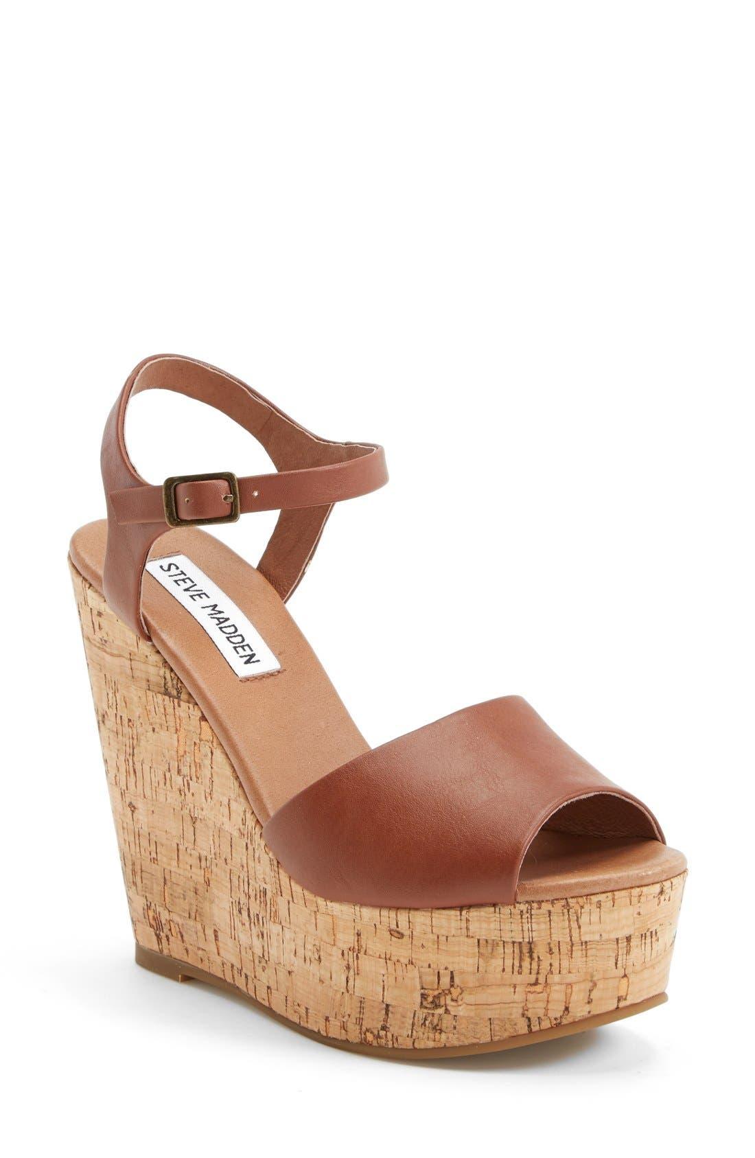 'Korkey' Ankle Strap Wedge Platform Sandal,                             Main thumbnail 1, color,                             Cognac