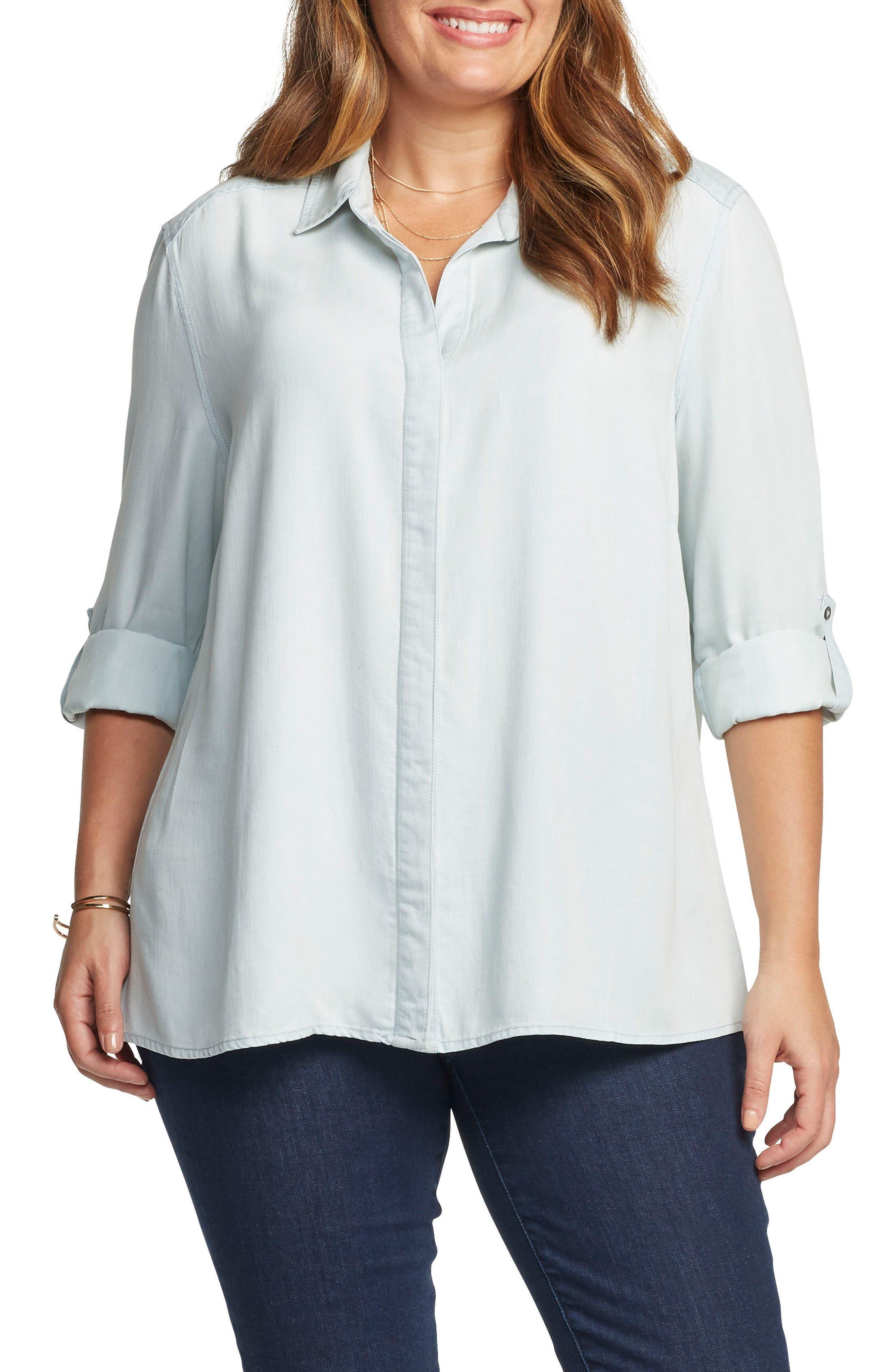 Caroline Roll Sleeve Top,                         Main,                         color, Light Blue