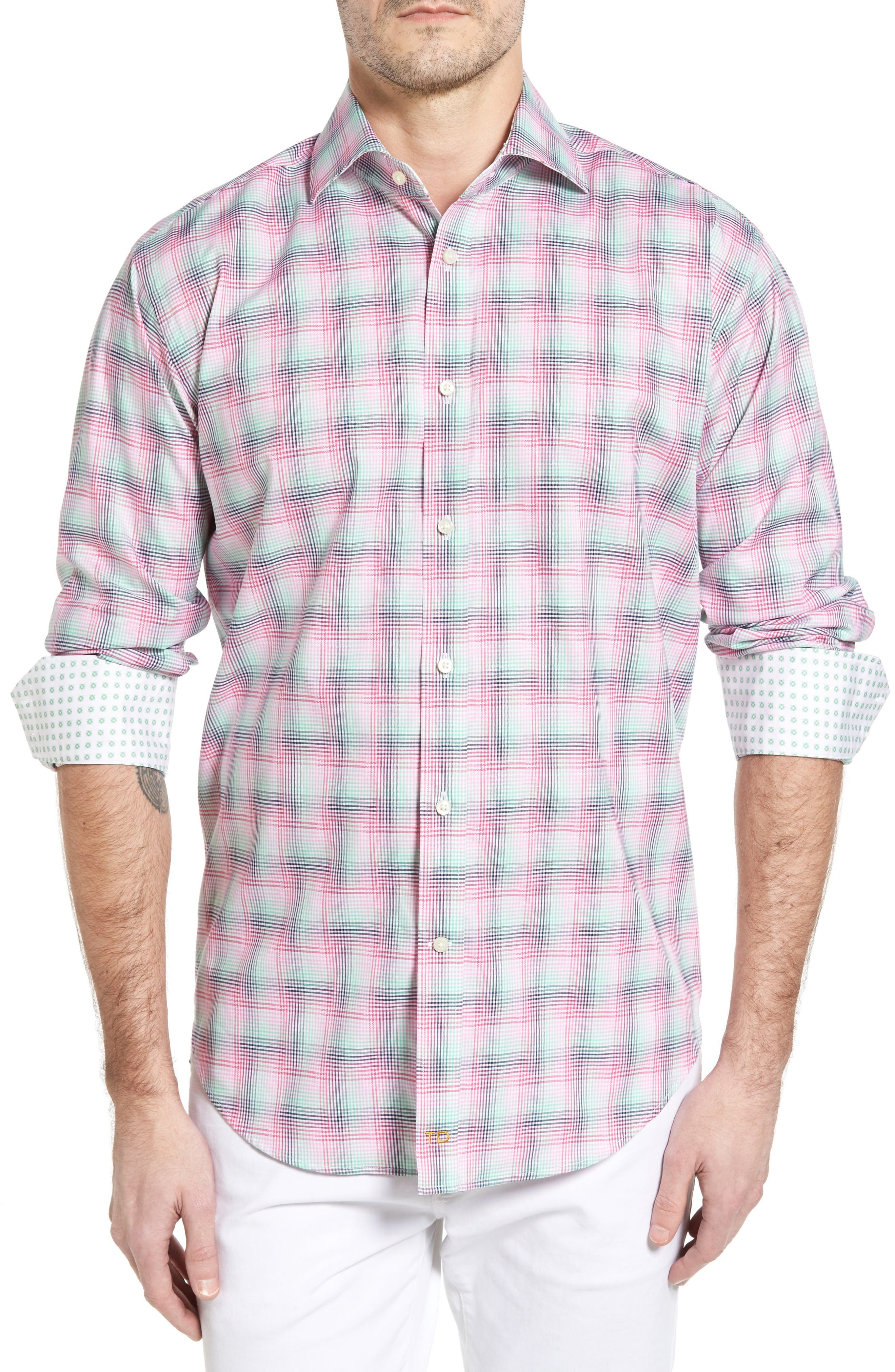 Classic Fit Funky Plaid Sport Shirt,                         Main,                         color, Pink
