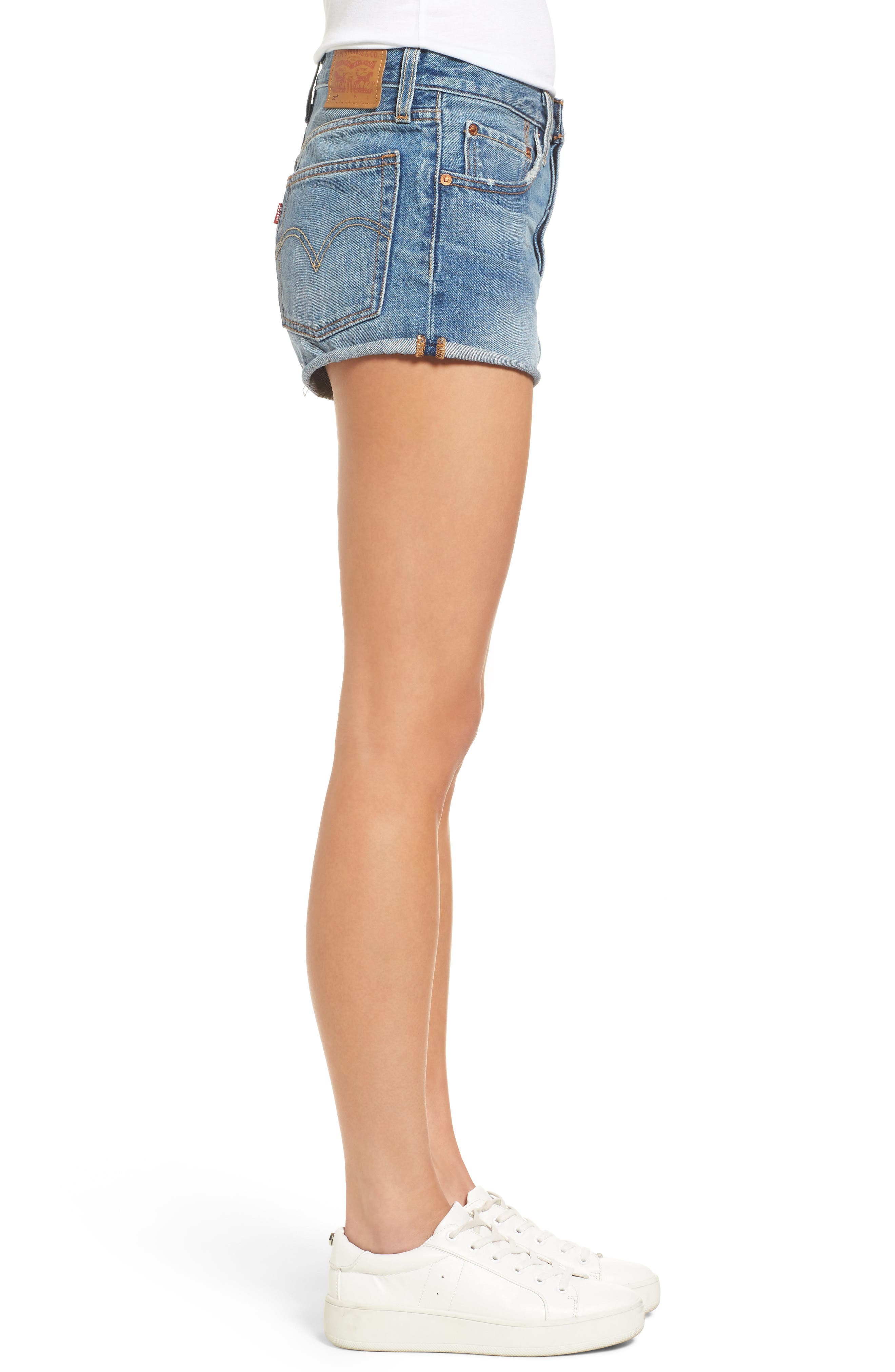 Cutoff Denim Shorts,                             Alternate thumbnail 4, color,                             Blue Explorer