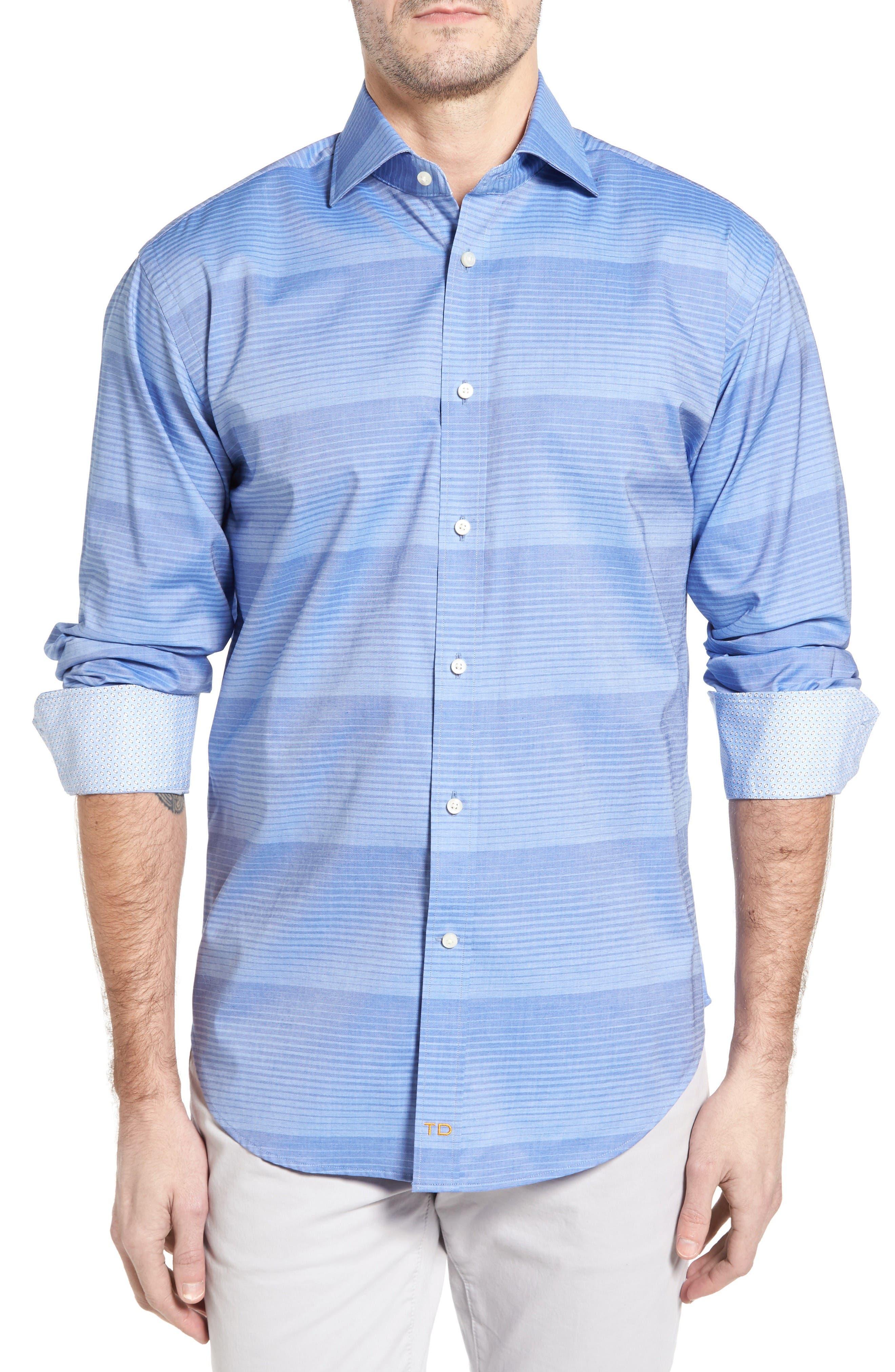 THOMAS DEAN Classic Fit Graduated Stripe Sport Shirt