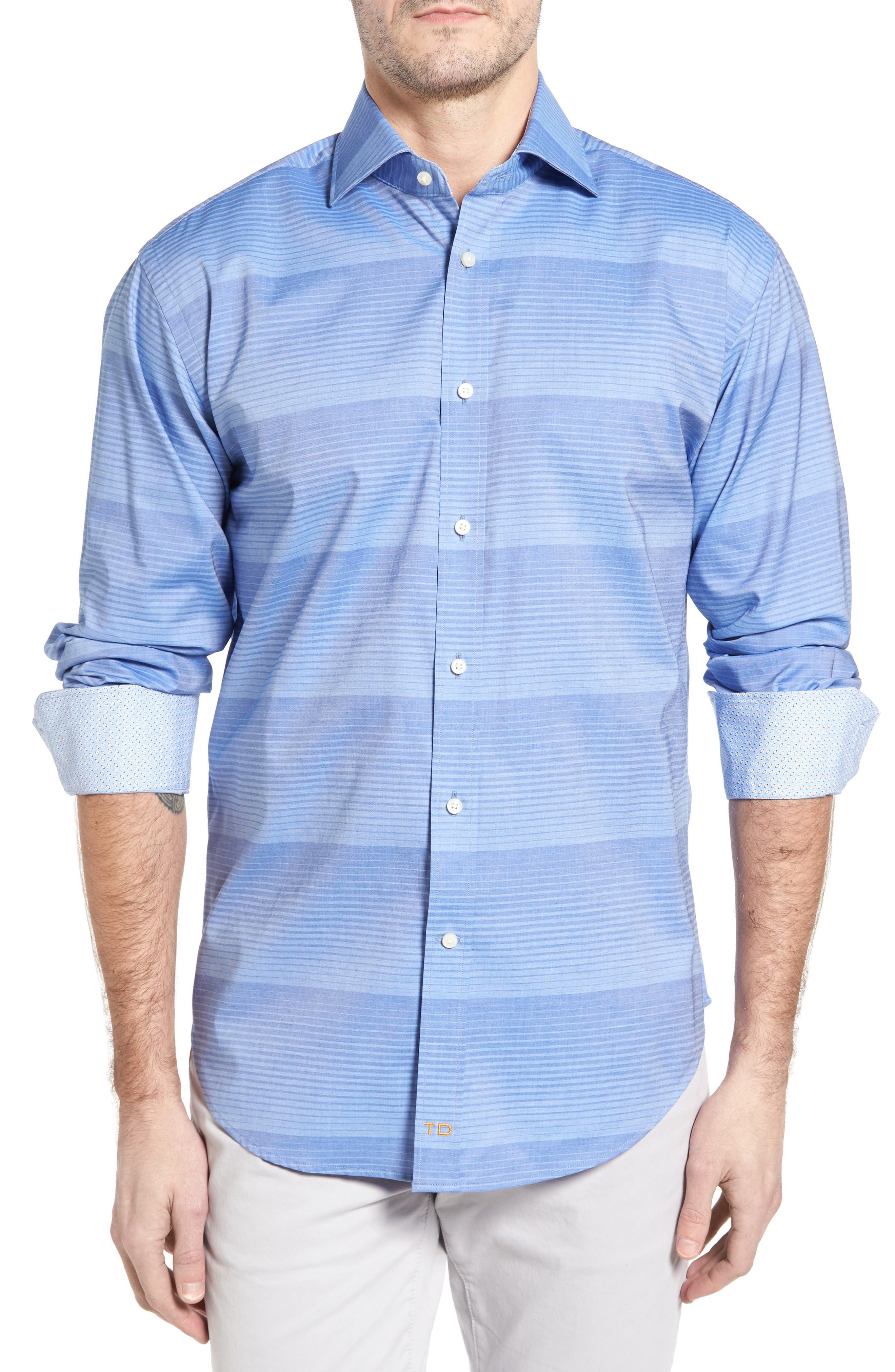 Thomas Dean Classic Fit Graduated Stripe Sport Shirt