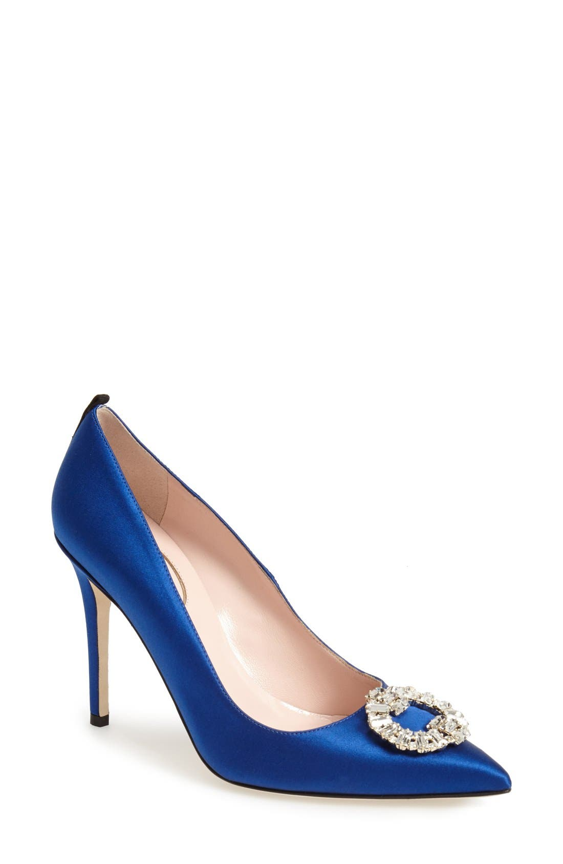 'Maddalena' Pointy Toe Pump,                             Main thumbnail 1, color,                             Blue Satin