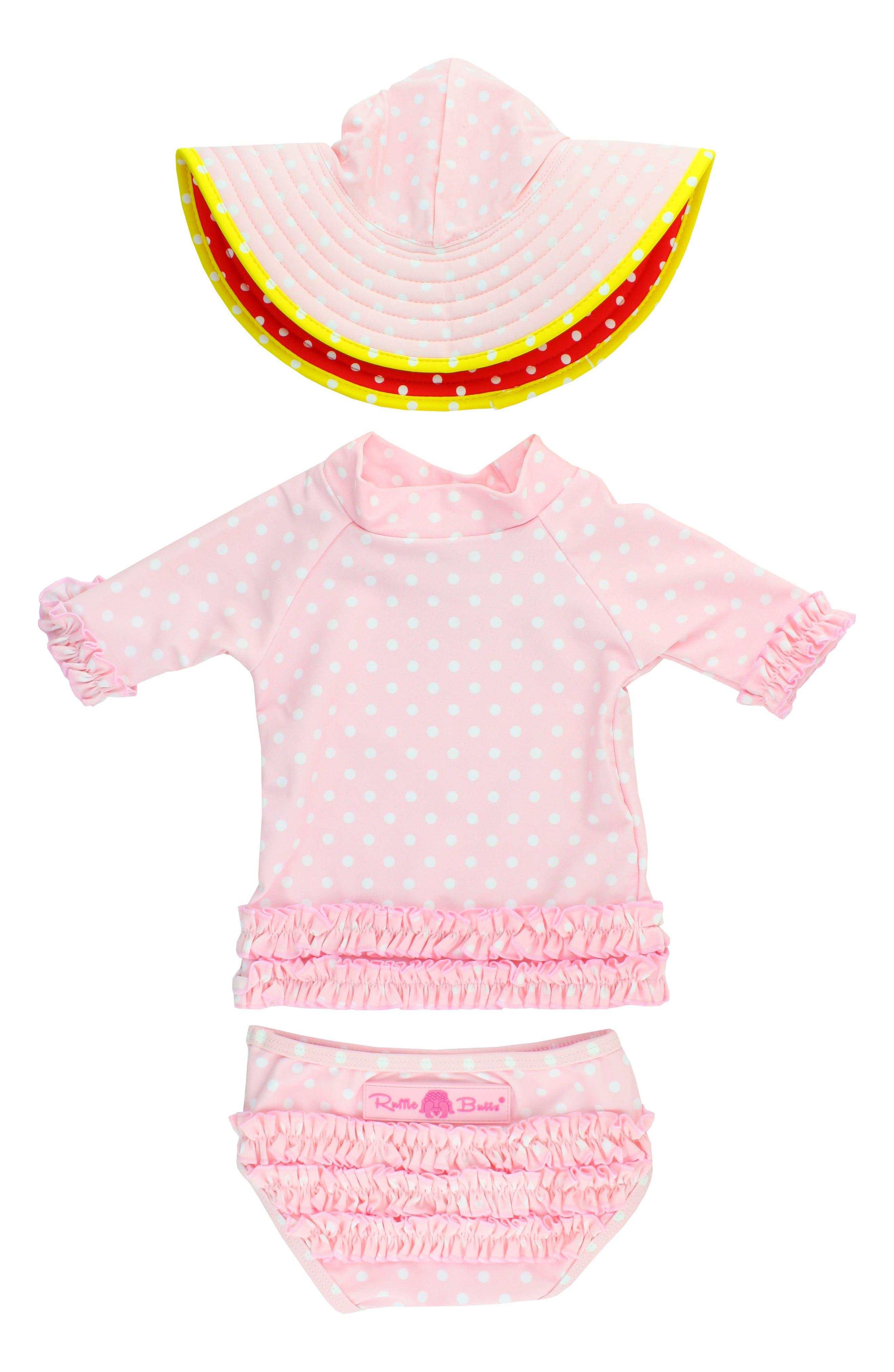 Two-Piece Rashguard Swimsuit & Hat Set,                             Alternate thumbnail 2, color,                             Pink