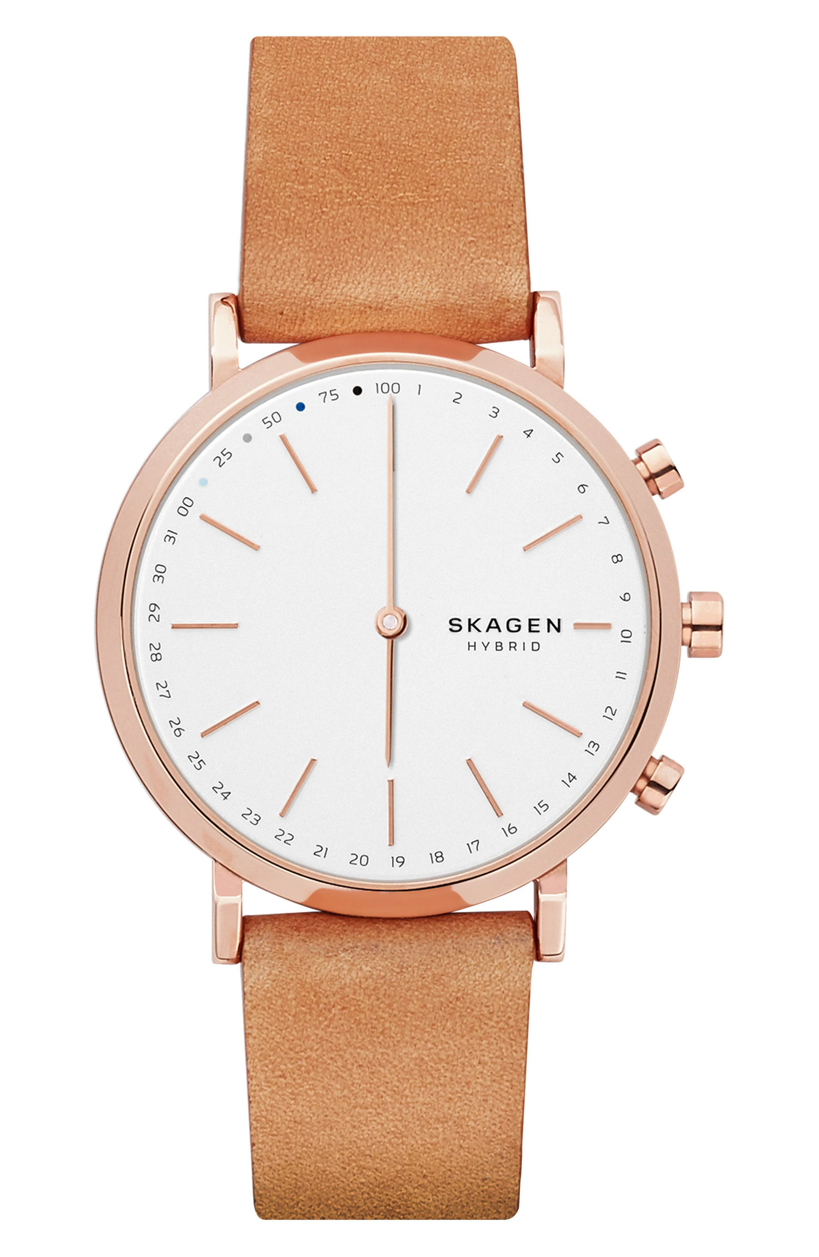 Hald Hybrid Leather Strap Smart Watch, 40mm,                         Main,                         color, Brown/ White/ Rose Gold