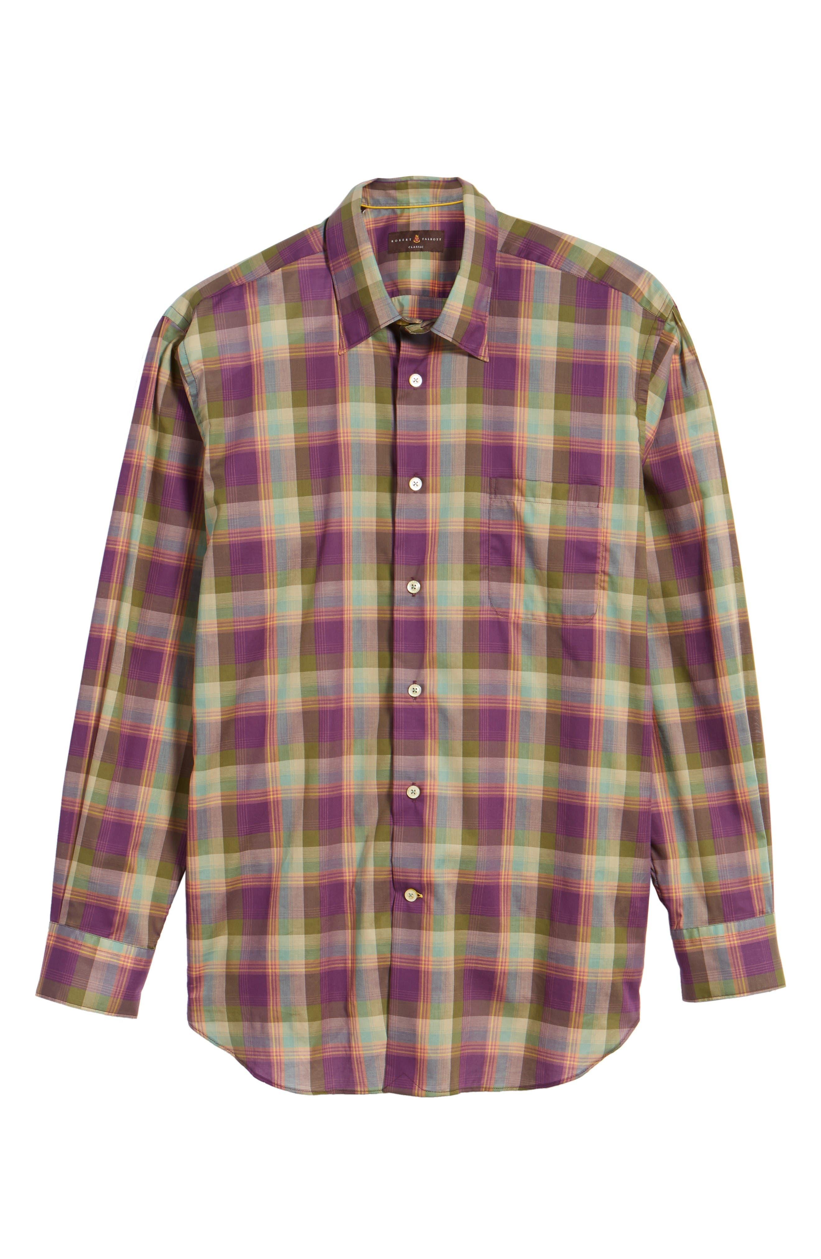 Anderson Classic Fit Plaid Sport Shirt,                             Alternate thumbnail 6, color,                             Port