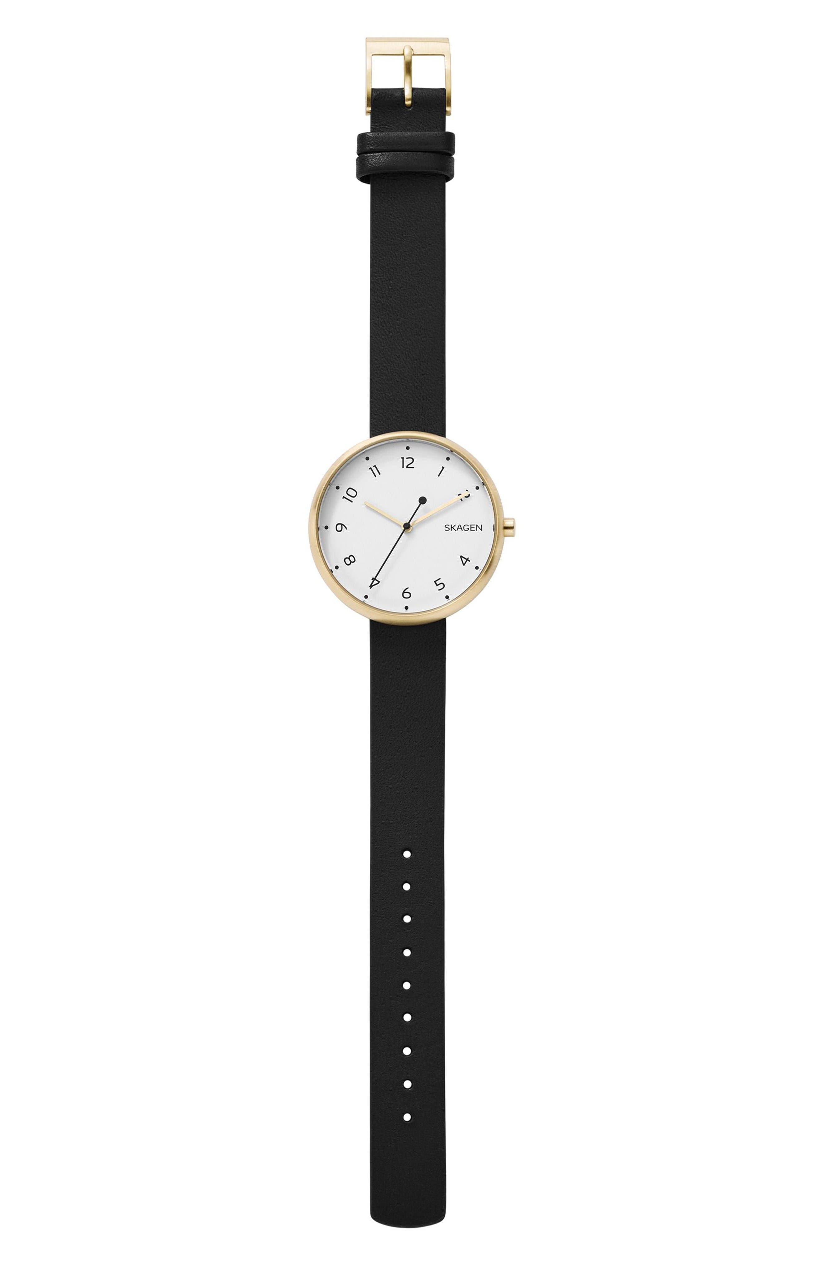 Signatur Leather Strap Watch, 36mm,                             Alternate thumbnail 2, color,                             Black/ White/ Gold