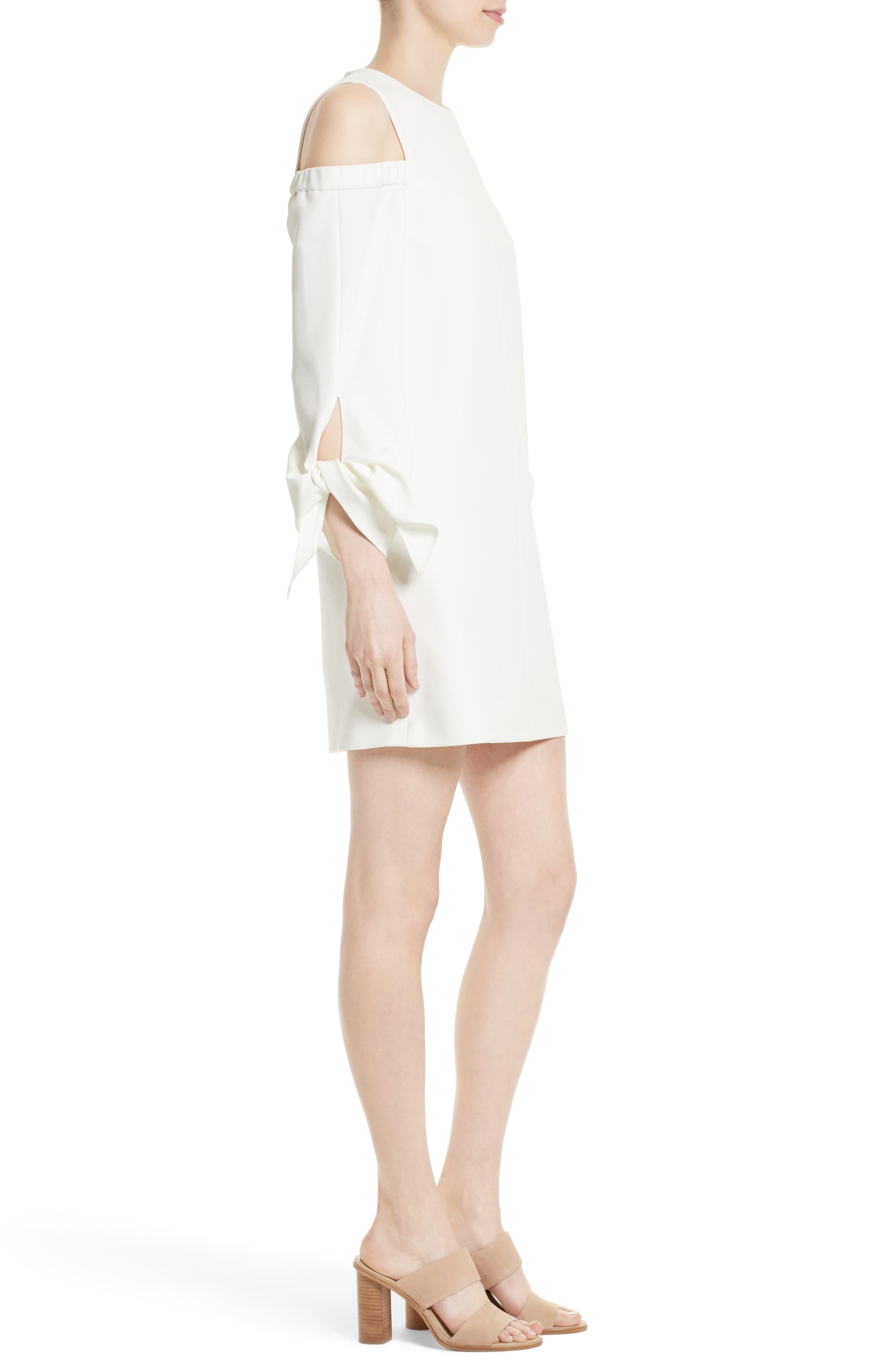 Cold Shoulder Shift Dress,                             Alternate thumbnail 3, color,                             Ivory