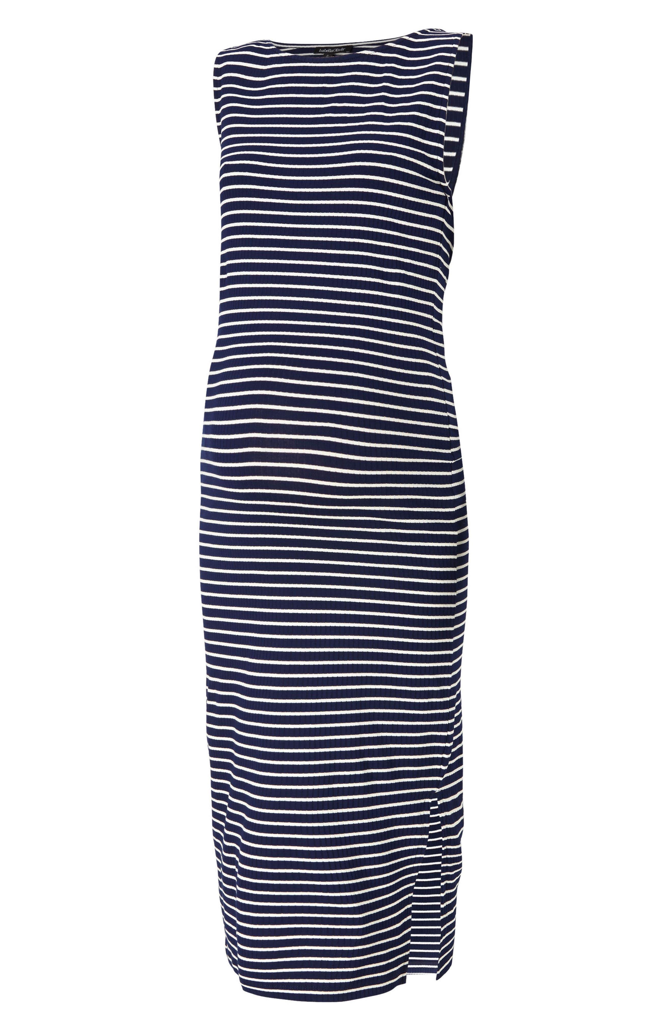 Katerina Ribbed Maternity Tank Dress,                         Main,                         color, Navy/ White Rib