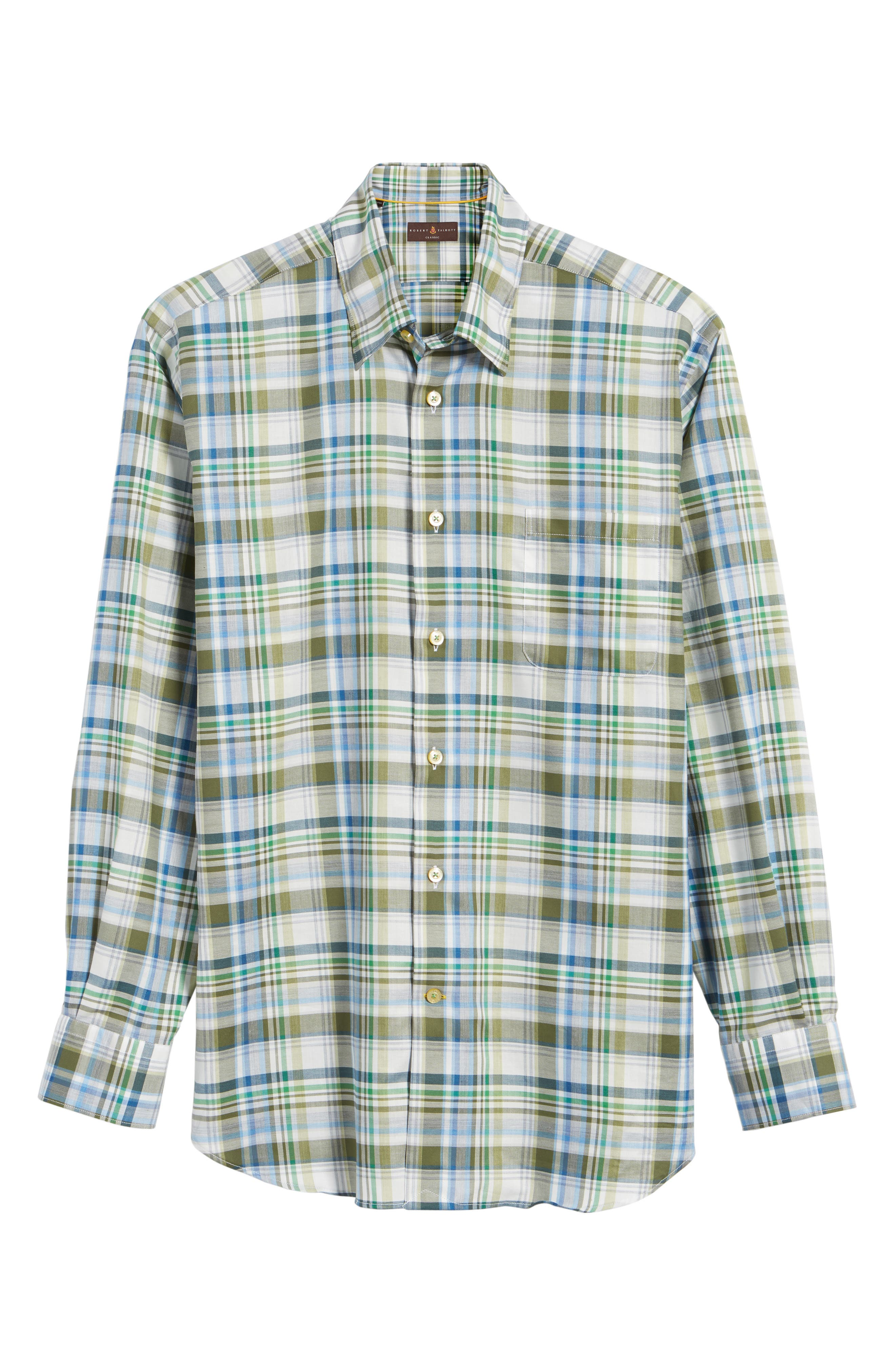 Anderson Classic Fit Plaid Micro Twill Sport Shirt,                             Alternate thumbnail 6, color,                             Green