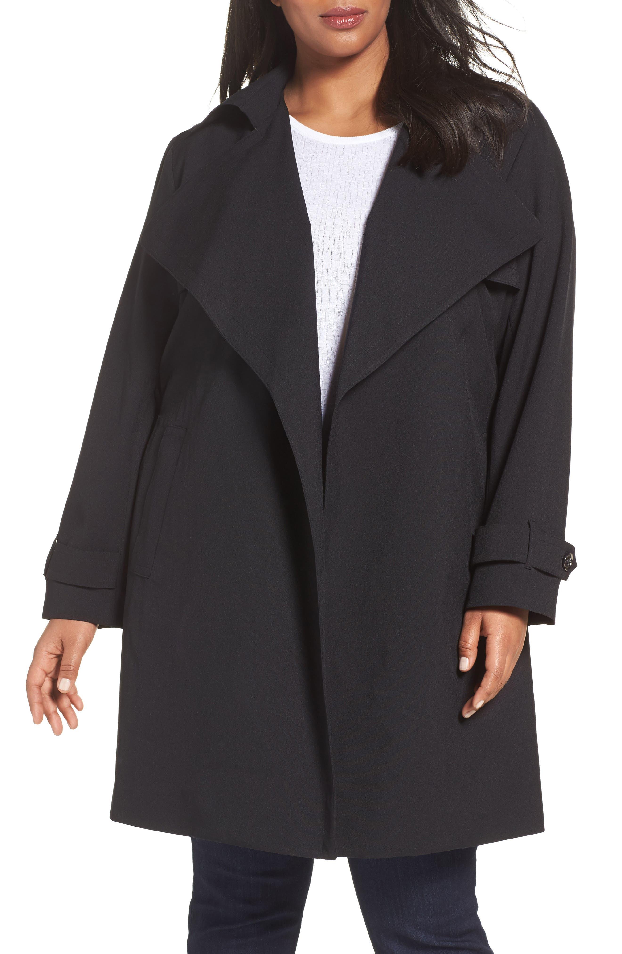 MICHAEL Michael Kors Drape Front Trench Coat (Plus Size)