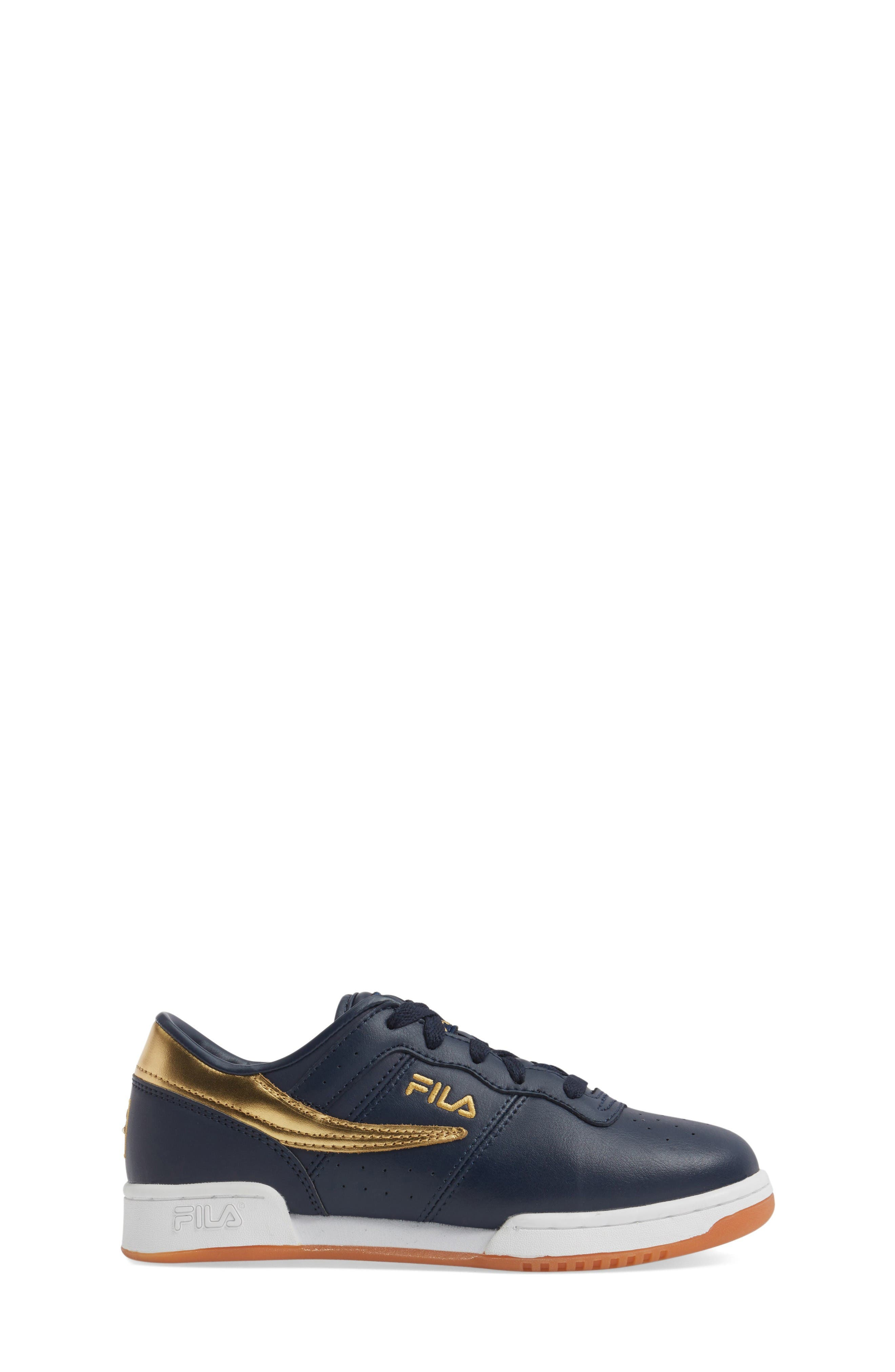 Heritage Sneaker,                             Alternate thumbnail 3, color,                             Navy/ Gold Faux Leather
