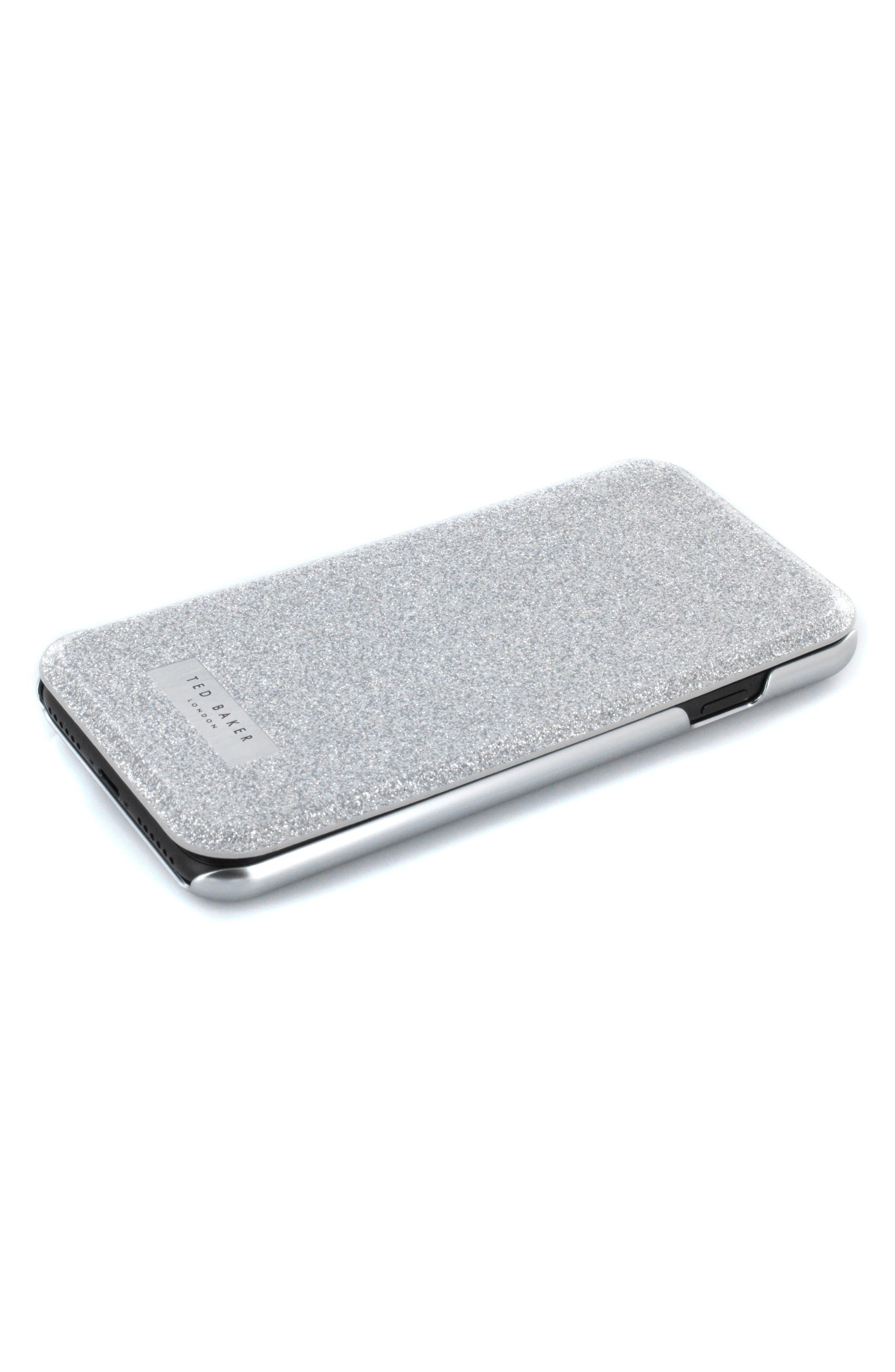 Glitsie iPhone 6/6s/7/8 Mirror Folio Case,                             Alternate thumbnail 6, color,                             Silver