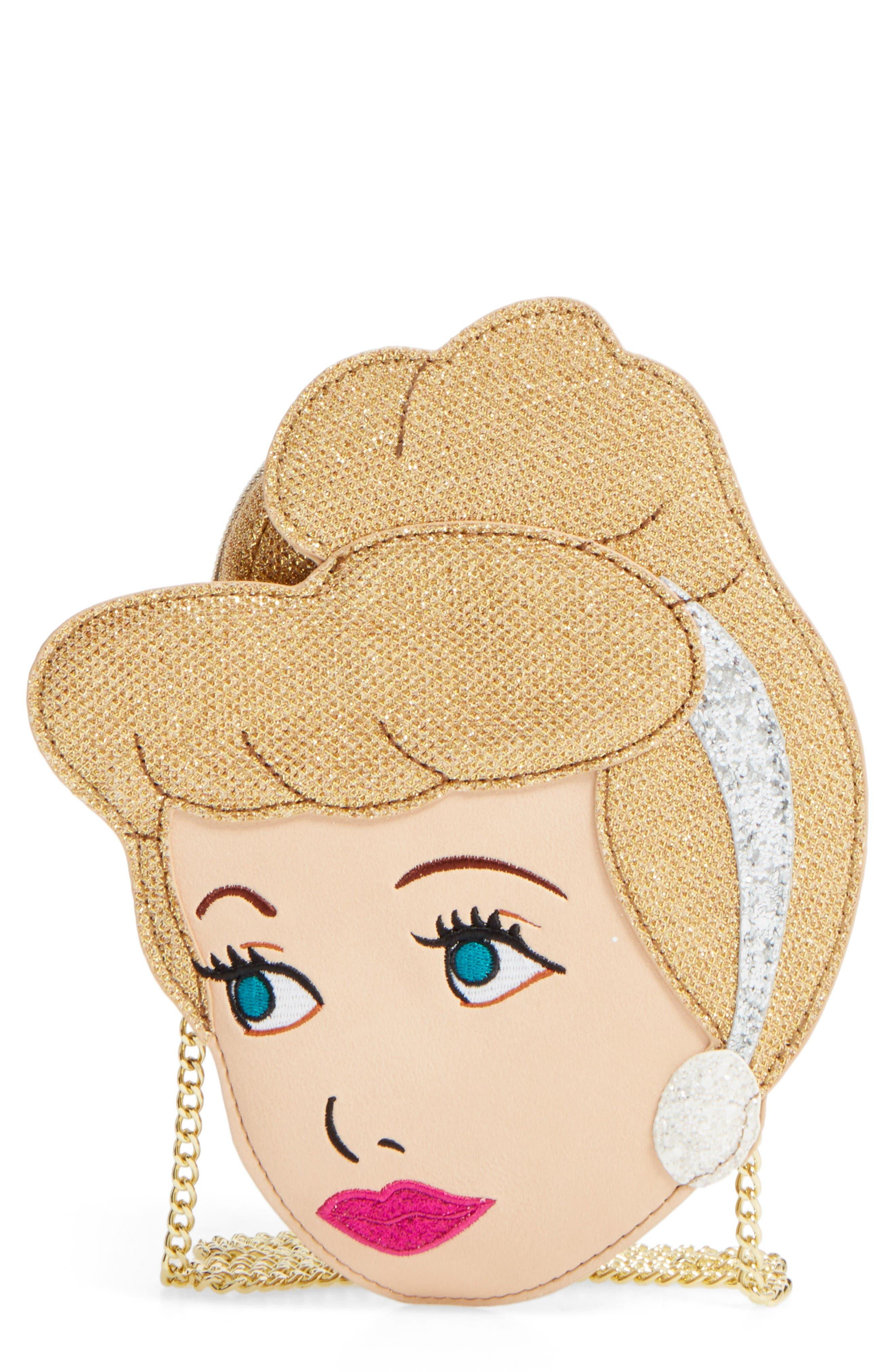 x Disney<sup>®</sup> Cinderella Crossbody Bag,                             Main thumbnail 1, color,                             Beige