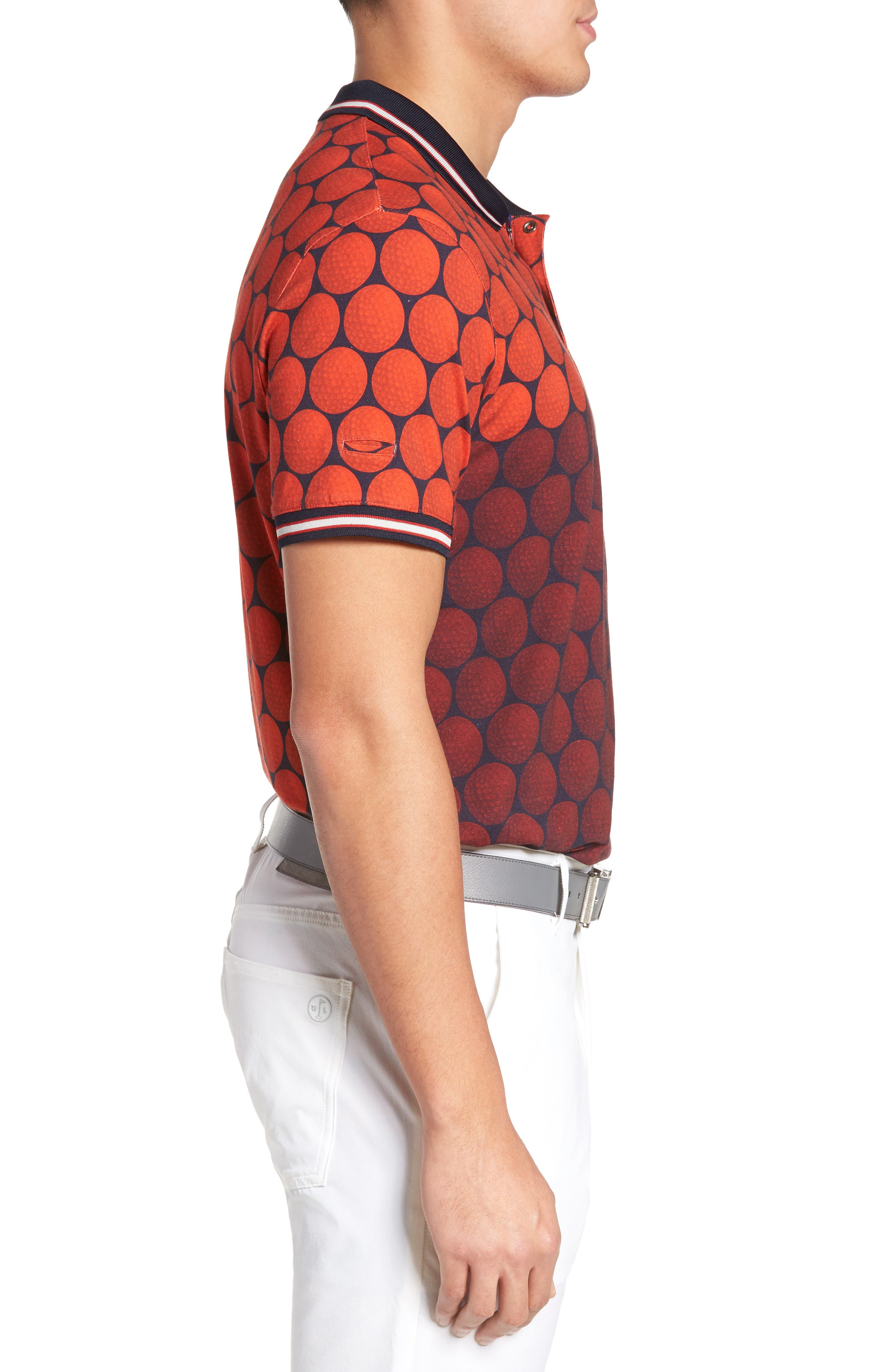 Birdy Print Golf Polo,                             Alternate thumbnail 3, color,                             Red