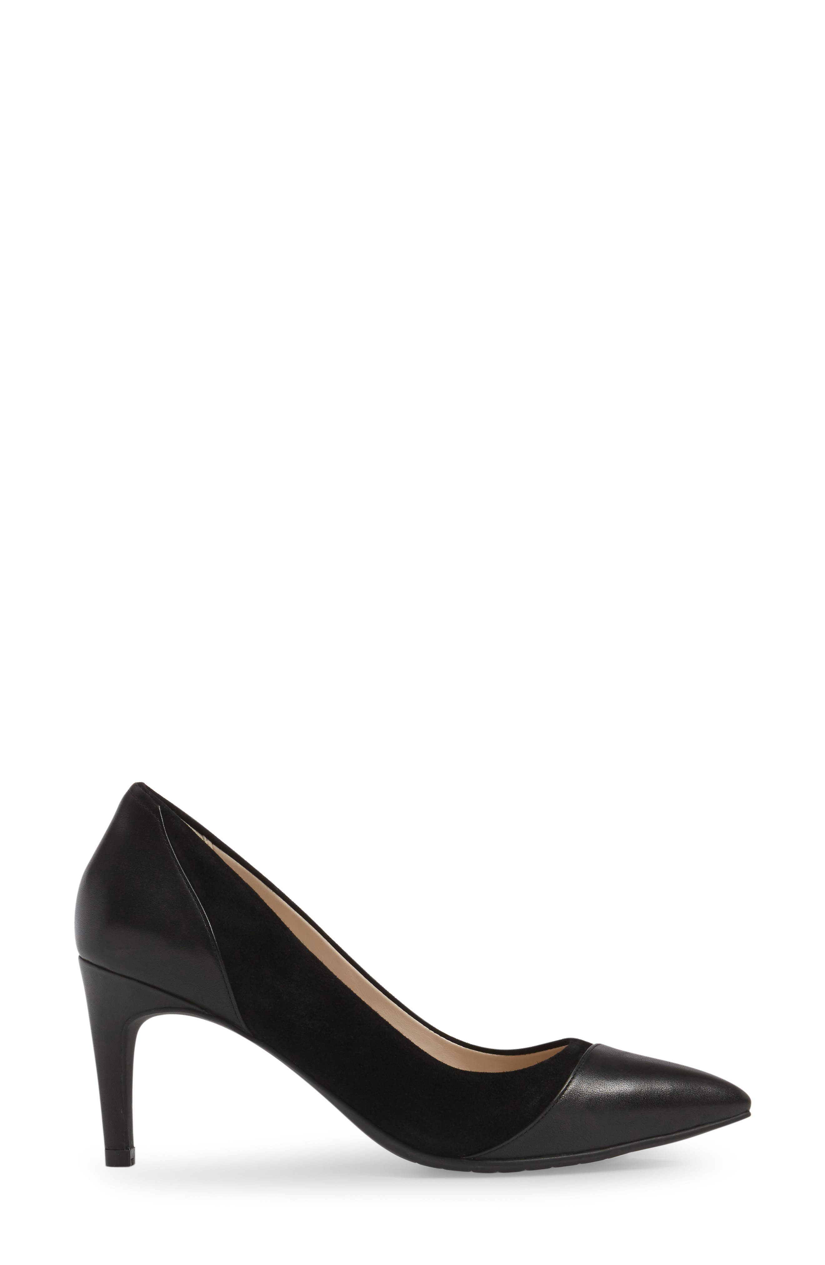 Shayla Pointy Toe Pump,                             Alternate thumbnail 3, color,                             Black Suede