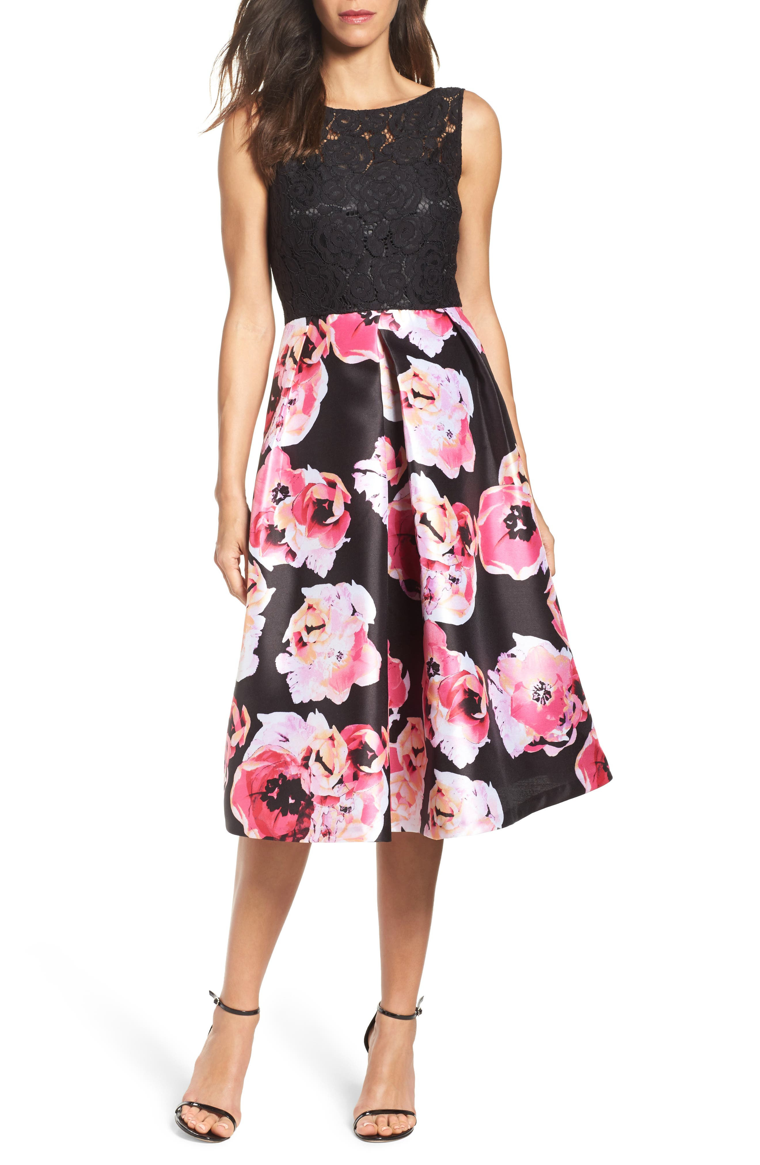 Ellen Tracy Lace & Print Satin Midi Dress