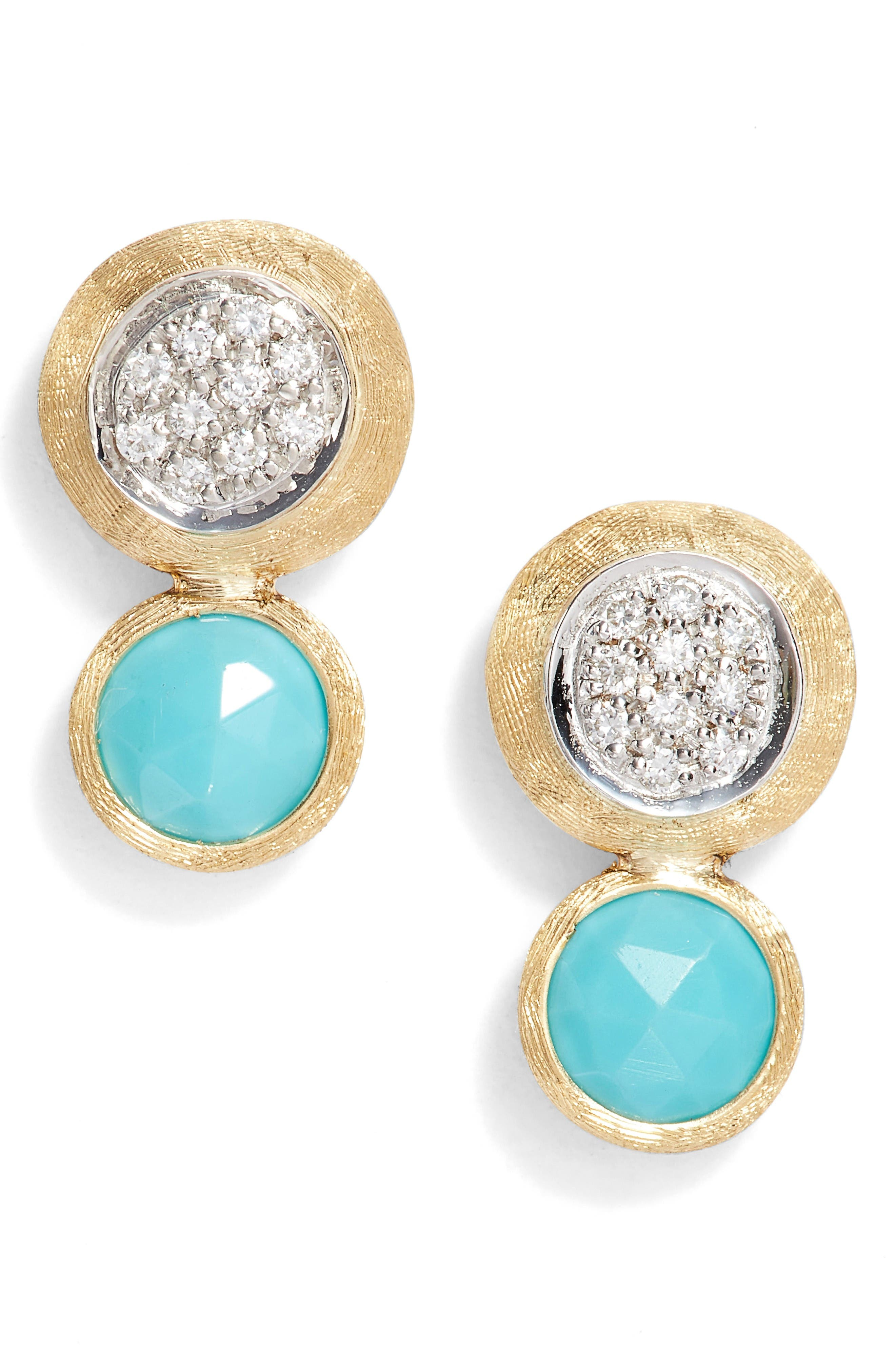 Jaipur Diamond & Turquoise Stud Earrings,                         Main,                         color, Yellow Gold/ Turquoise