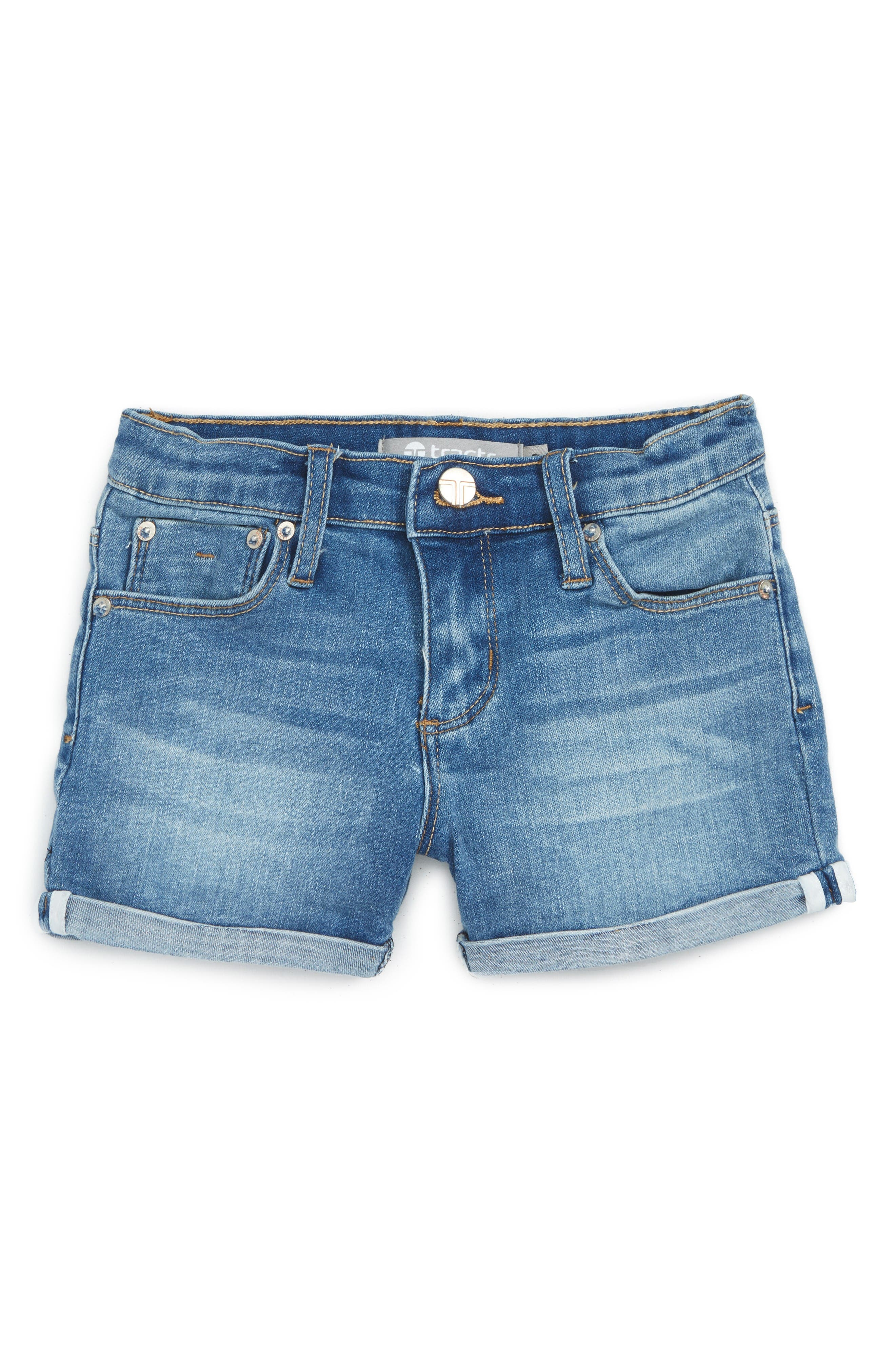 Tractr Roll Cuff Denim Shorts (Toddler Girls & Little Girls)
