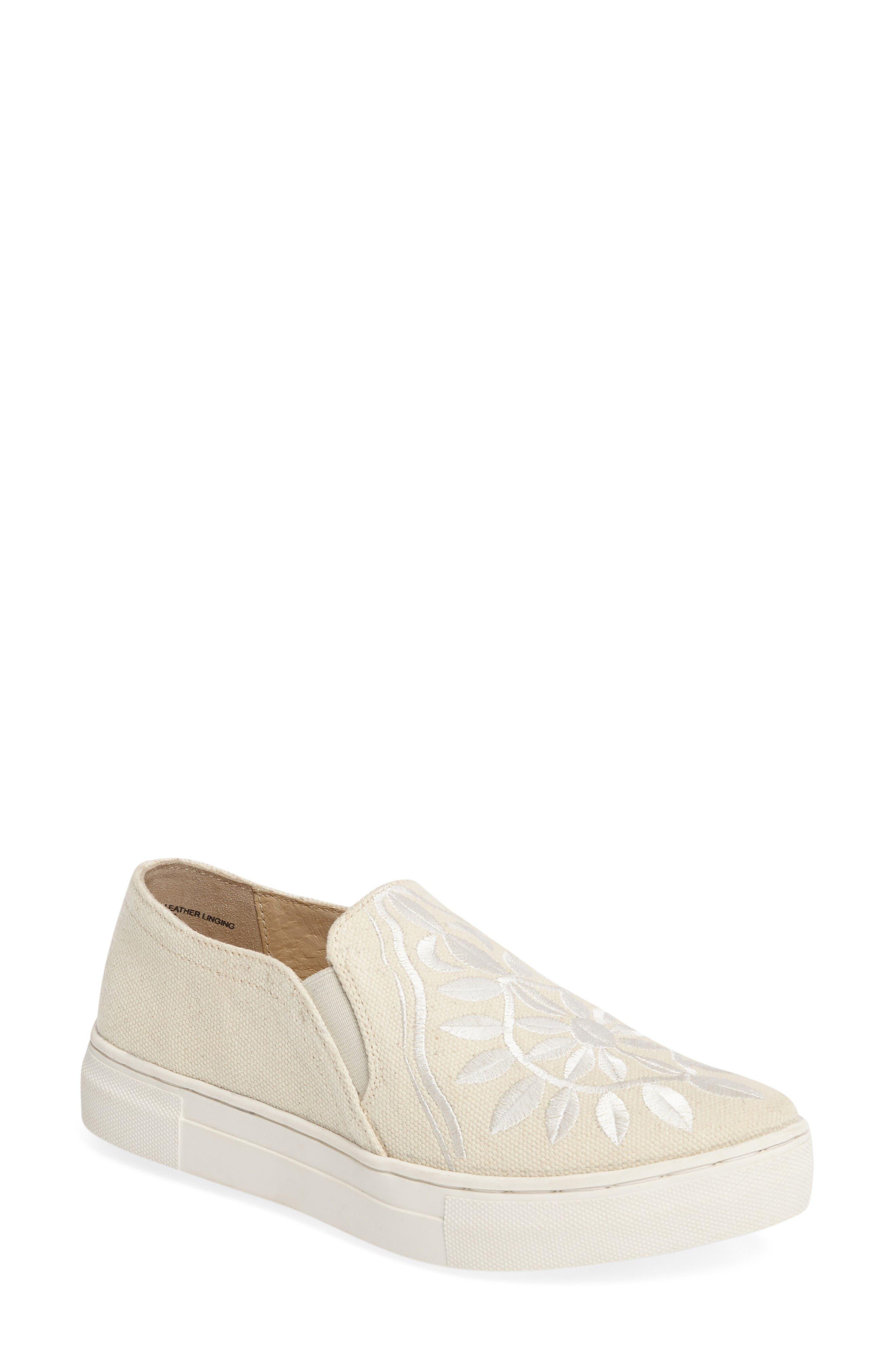 Sunshine Slip-On,                         Main,                         color, Natural/ White Fabric