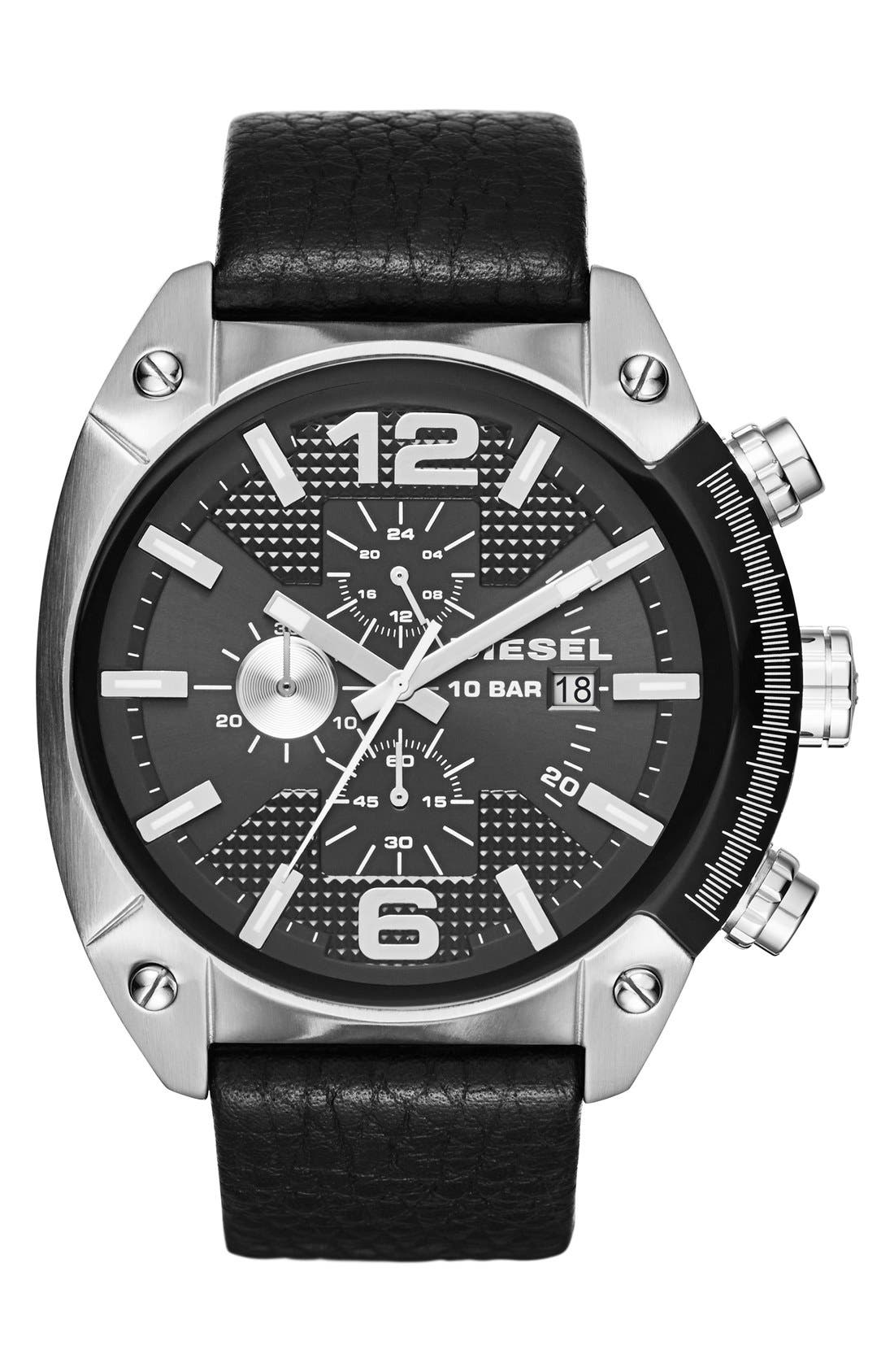Alternate Image 1 Selected - DIESEL® 'Overflow' Chronograph Leather Strap Watch, 46mm x 49mm