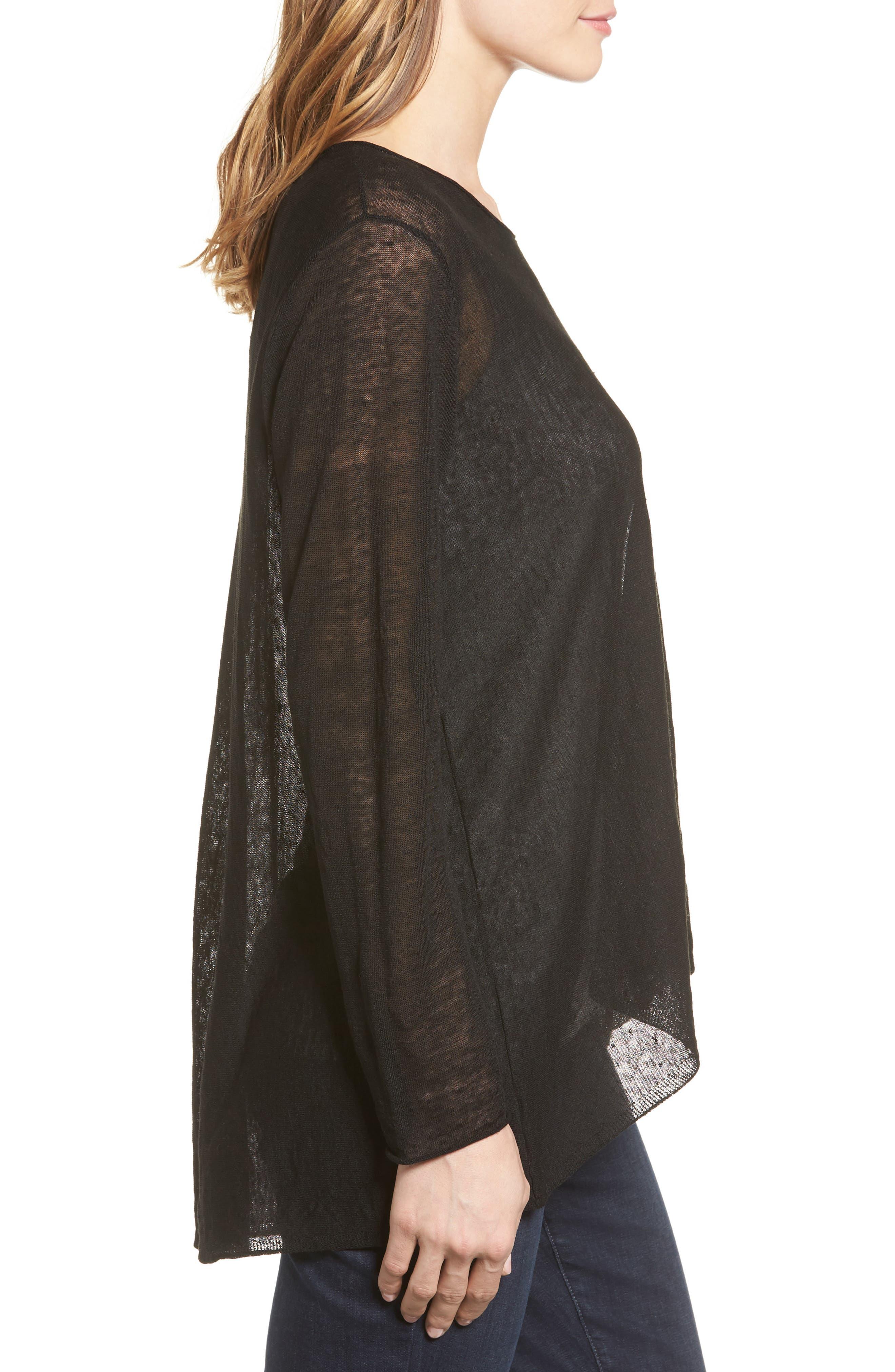 Alternate Image 3  - Eileen Fisher Organic Linen Blend Swing Sweater (Regular & Petite)