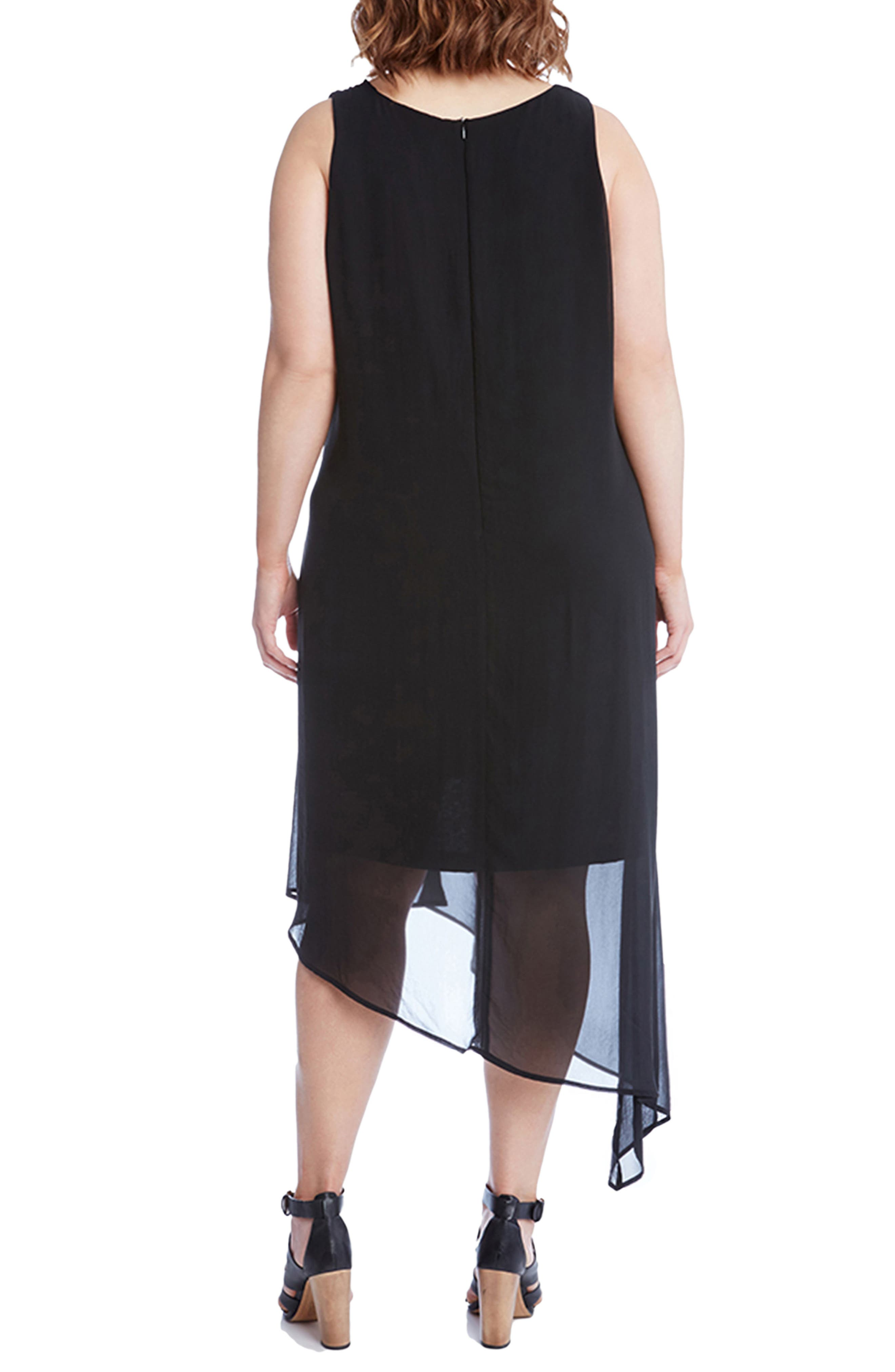 Alternate Image 2  - Karen Kane Asymmetrical Overlay Shift Dress (Plus Size)