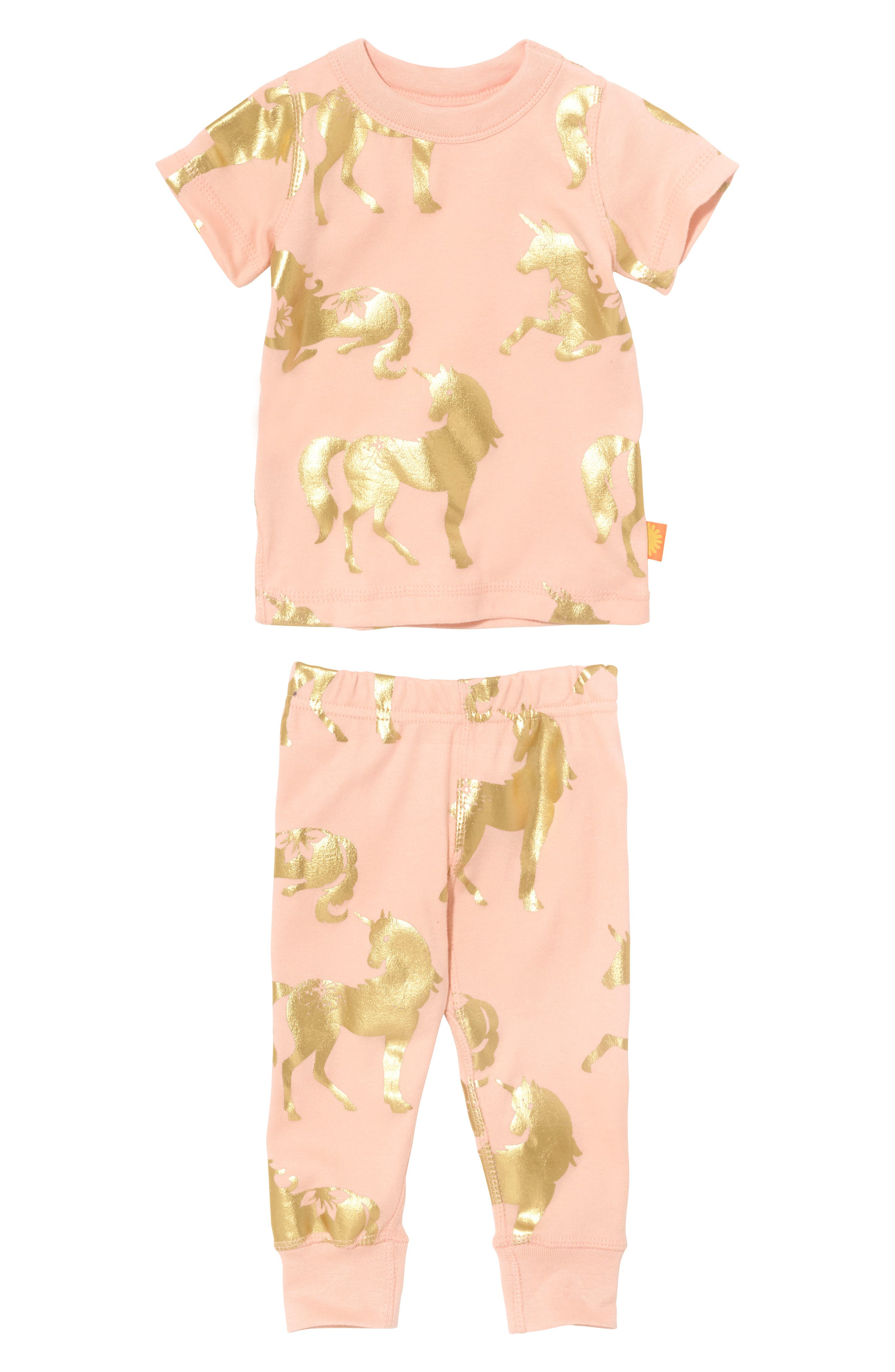 Alternate Image 1 Selected - Masalababy Unicorn Organic Cotton Fitted Two-Piece Pajamas (Baby Girls)