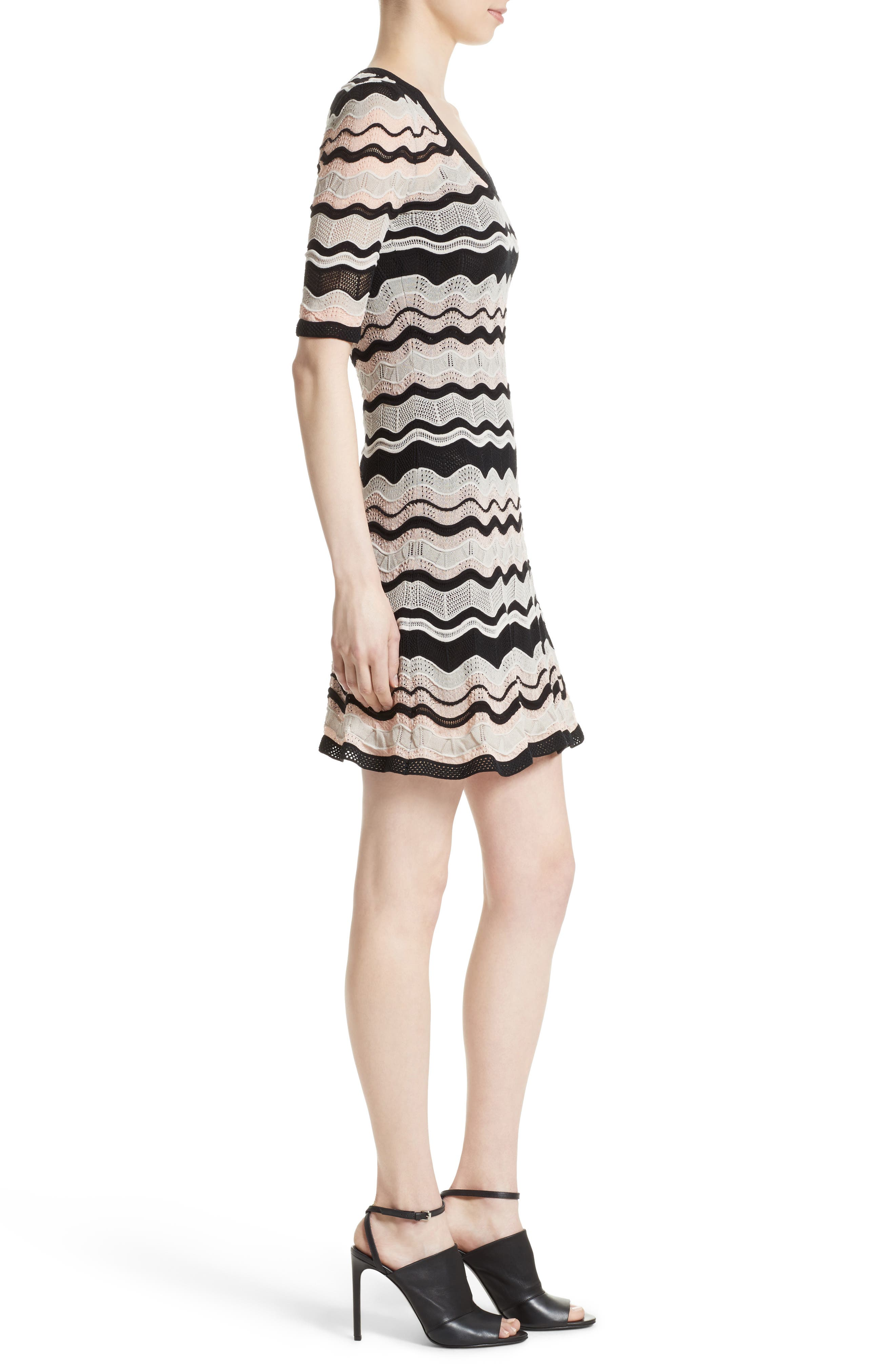 Ripple Ribbon Fit & Flare Dress,                             Alternate thumbnail 3, color,                             Blush