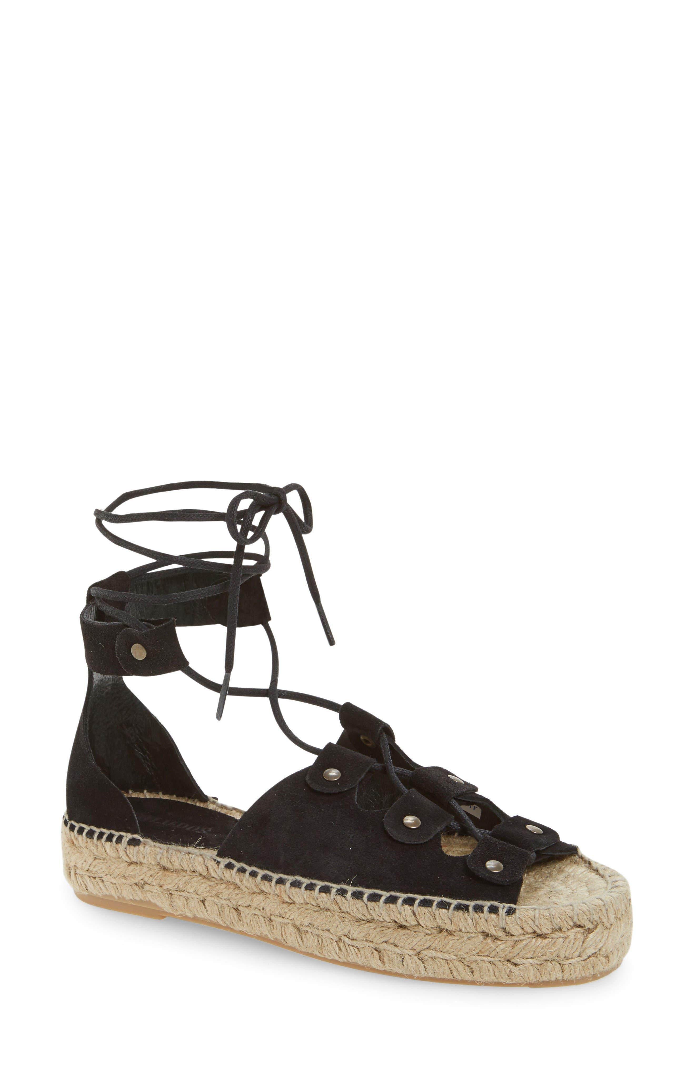 Ghillie Platform Sandal,                             Main thumbnail 1, color,                             Black Suede
