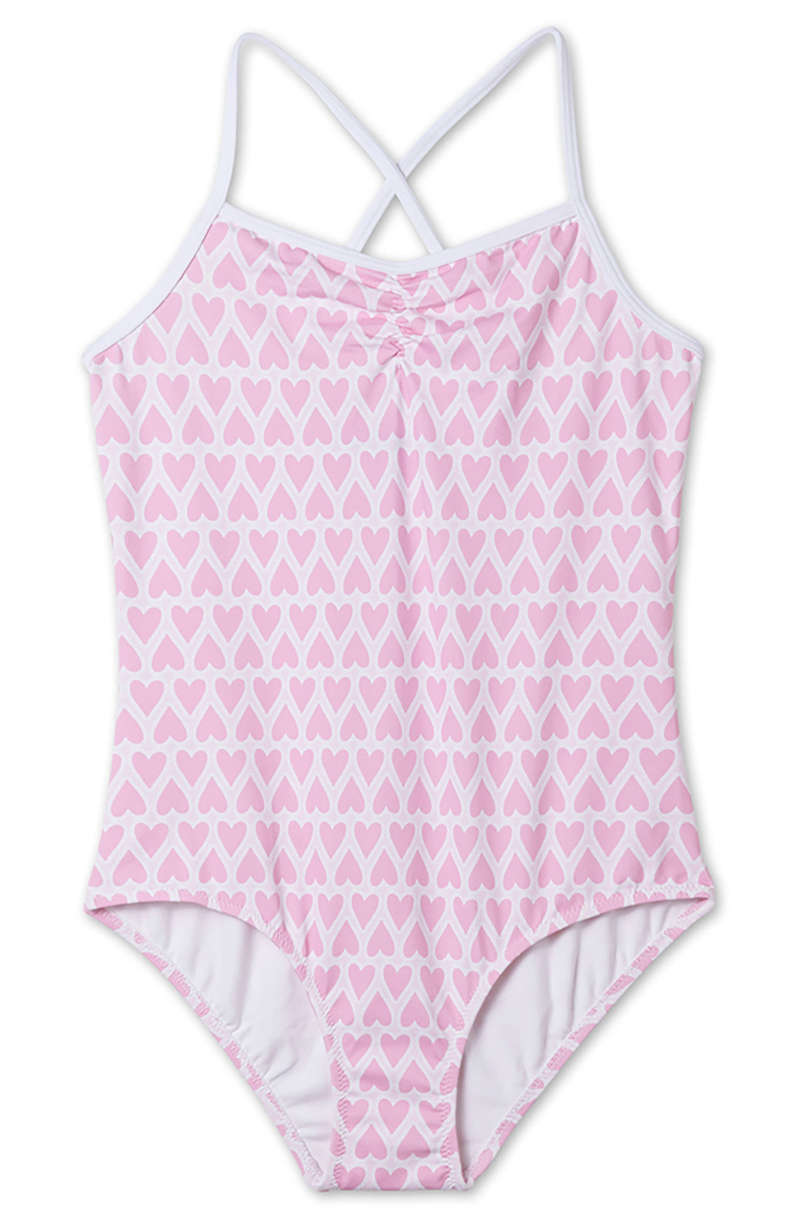 Heart Print One-Piece Swimsuit,                         Main,                         color, Pink