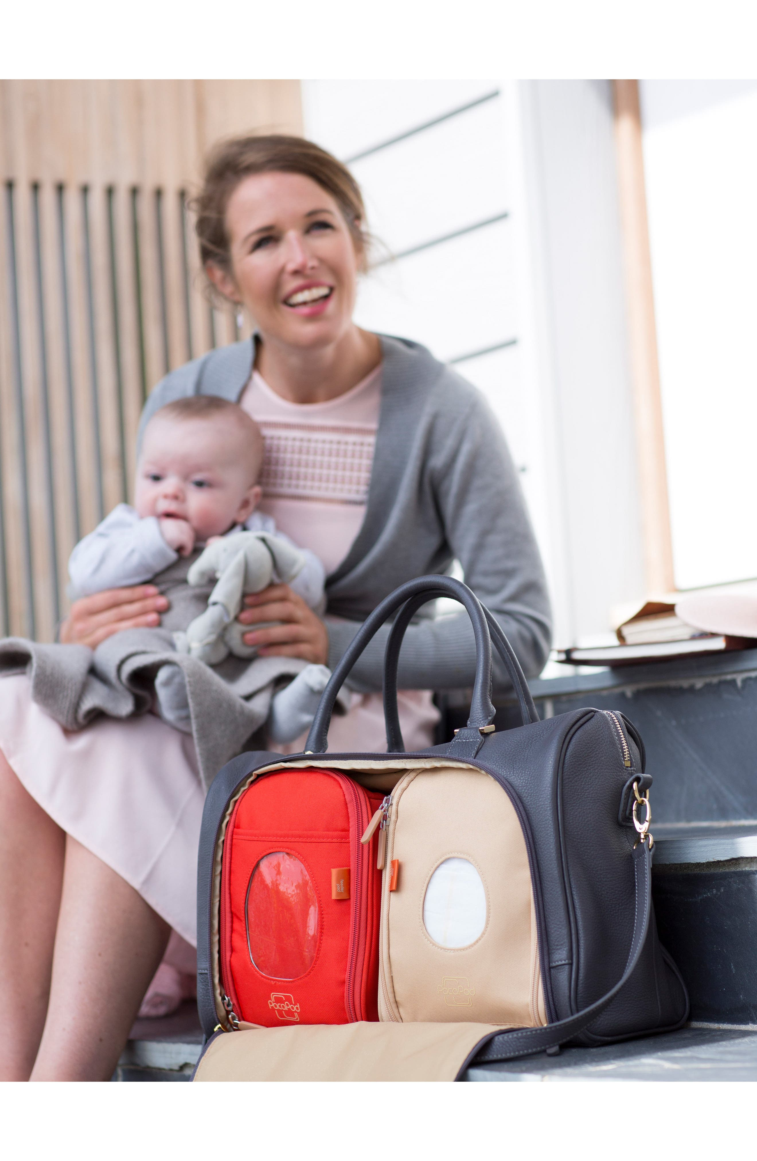 'Firenze' Leather Diaper Bag,                             Alternate thumbnail 5, color,                             Pewter
