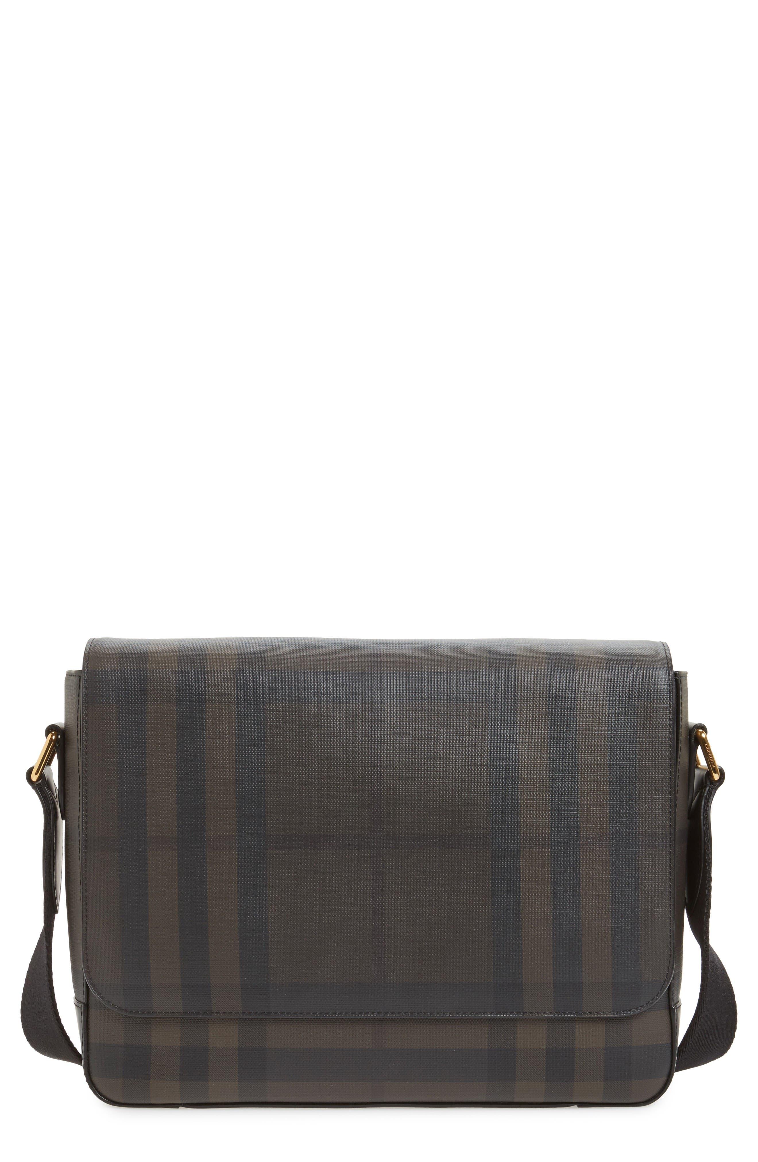 Edgware Check Messenger Bag,                             Main thumbnail 1, color,                             Chocolate/ Black