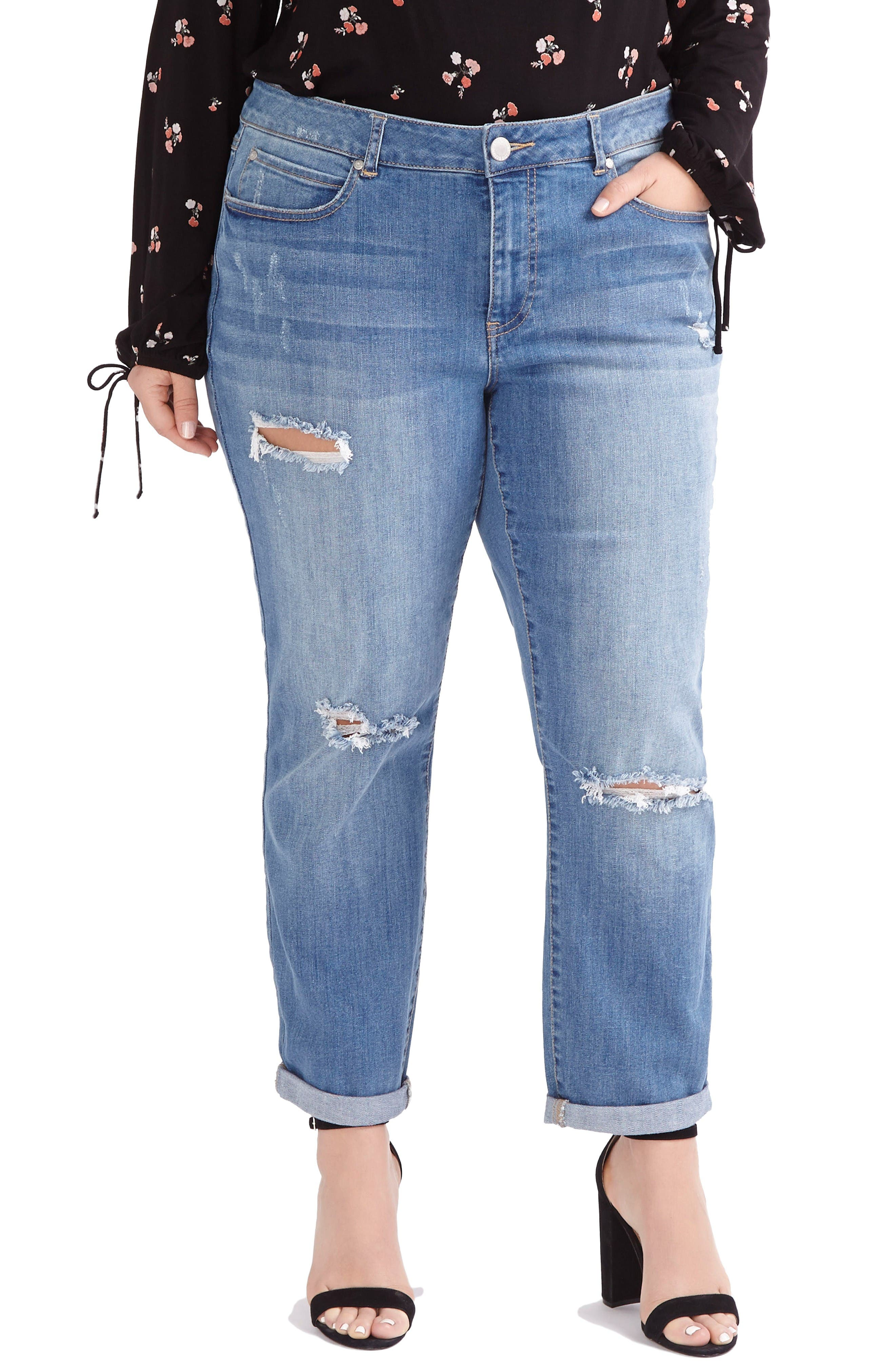 Ripped Boyfriend Jeans,                             Main thumbnail 1, color,                             Med Light Wash